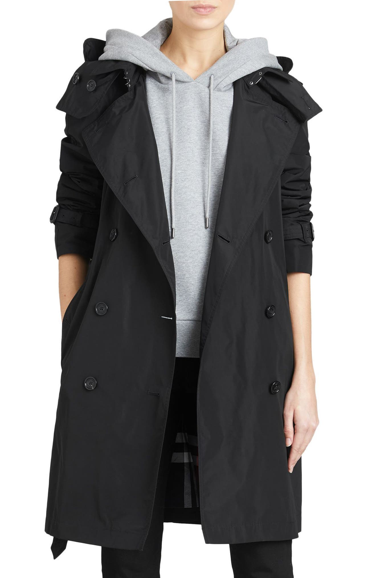 BURBERRY,                             Amberford Taffeta Trench Coat with Detachable Hood,                             Main thumbnail 1, color,                             BLACK