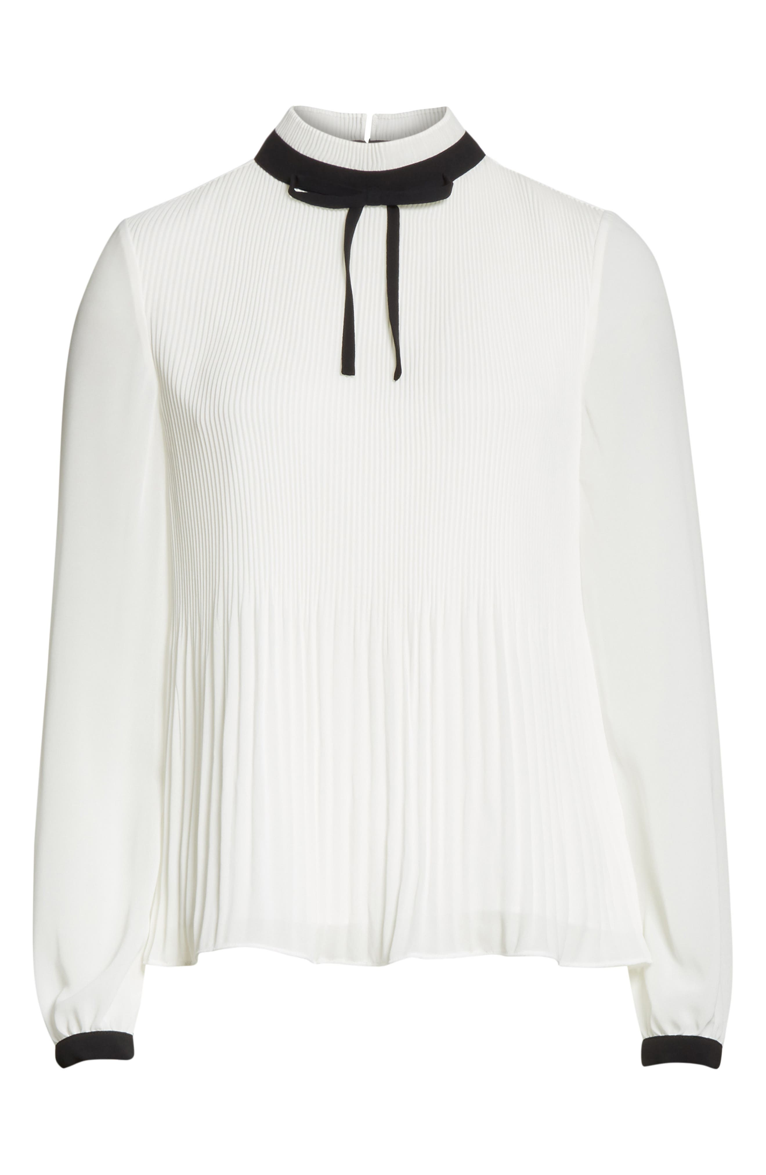 Pleated High Neck Chiffon Top,                             Alternate thumbnail 6, color,