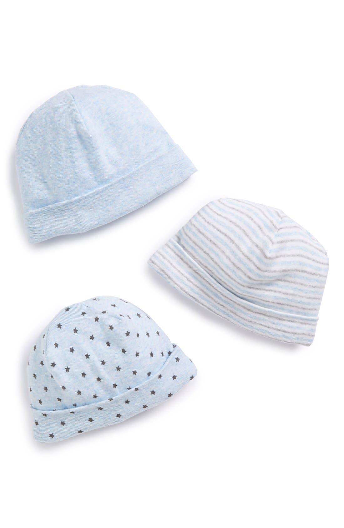 3-Pack Hats, Main, color, BLUE PRECIOUS HEATHER