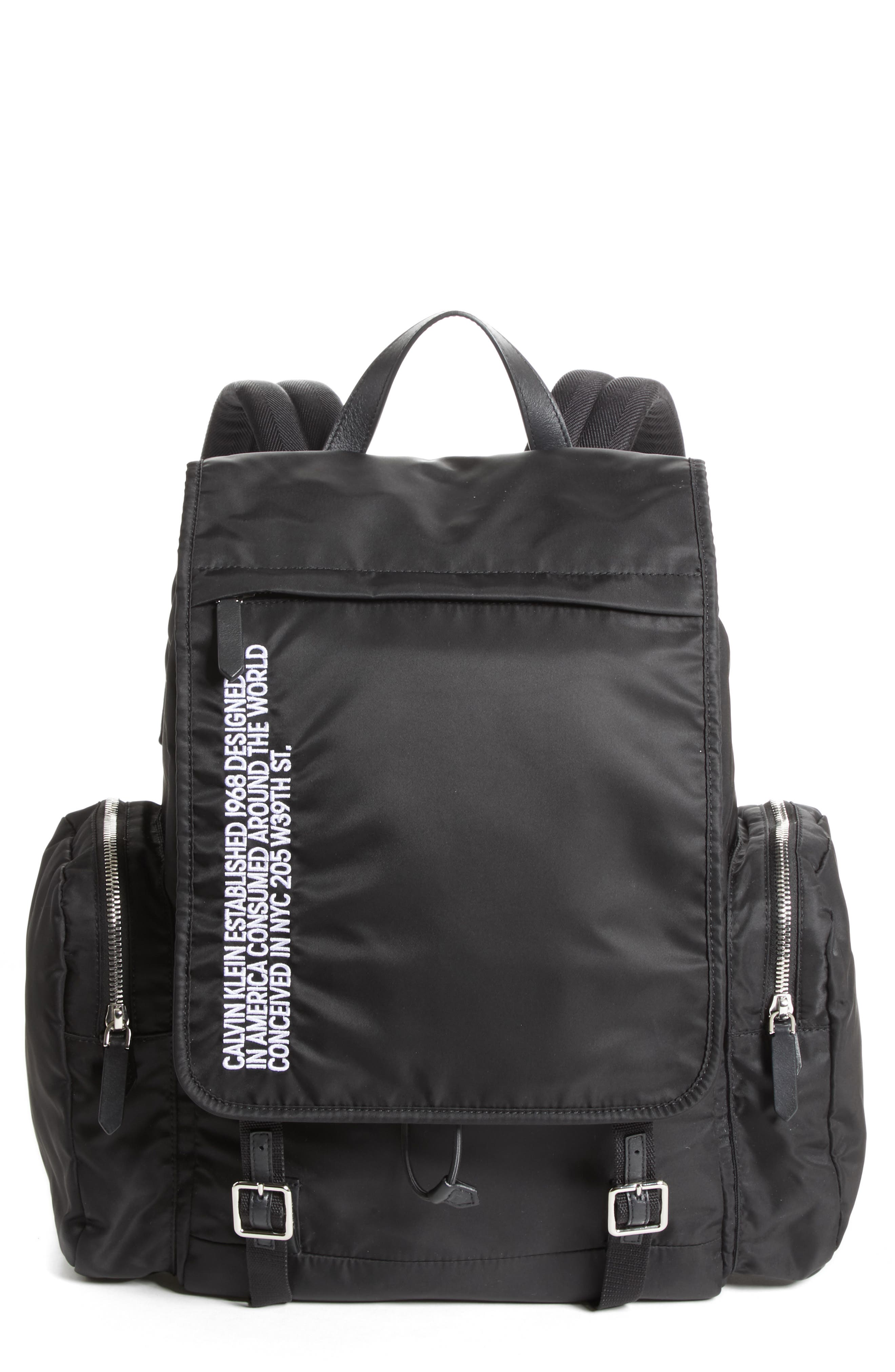 Nylon Flap Backpack,                         Main,                         color, BLACK