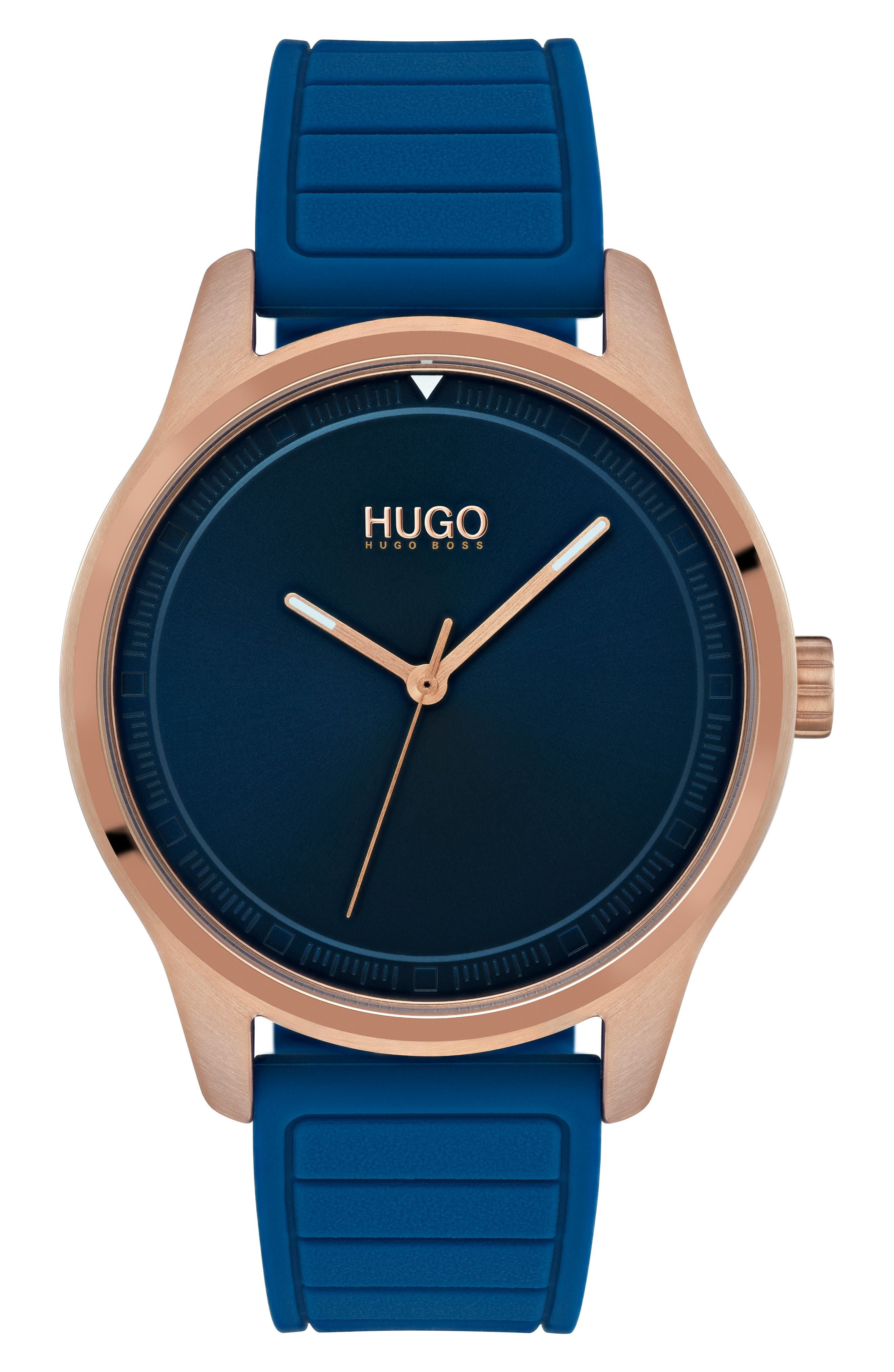 HUGO Silicone Strap Watch, 42Mm in Blue