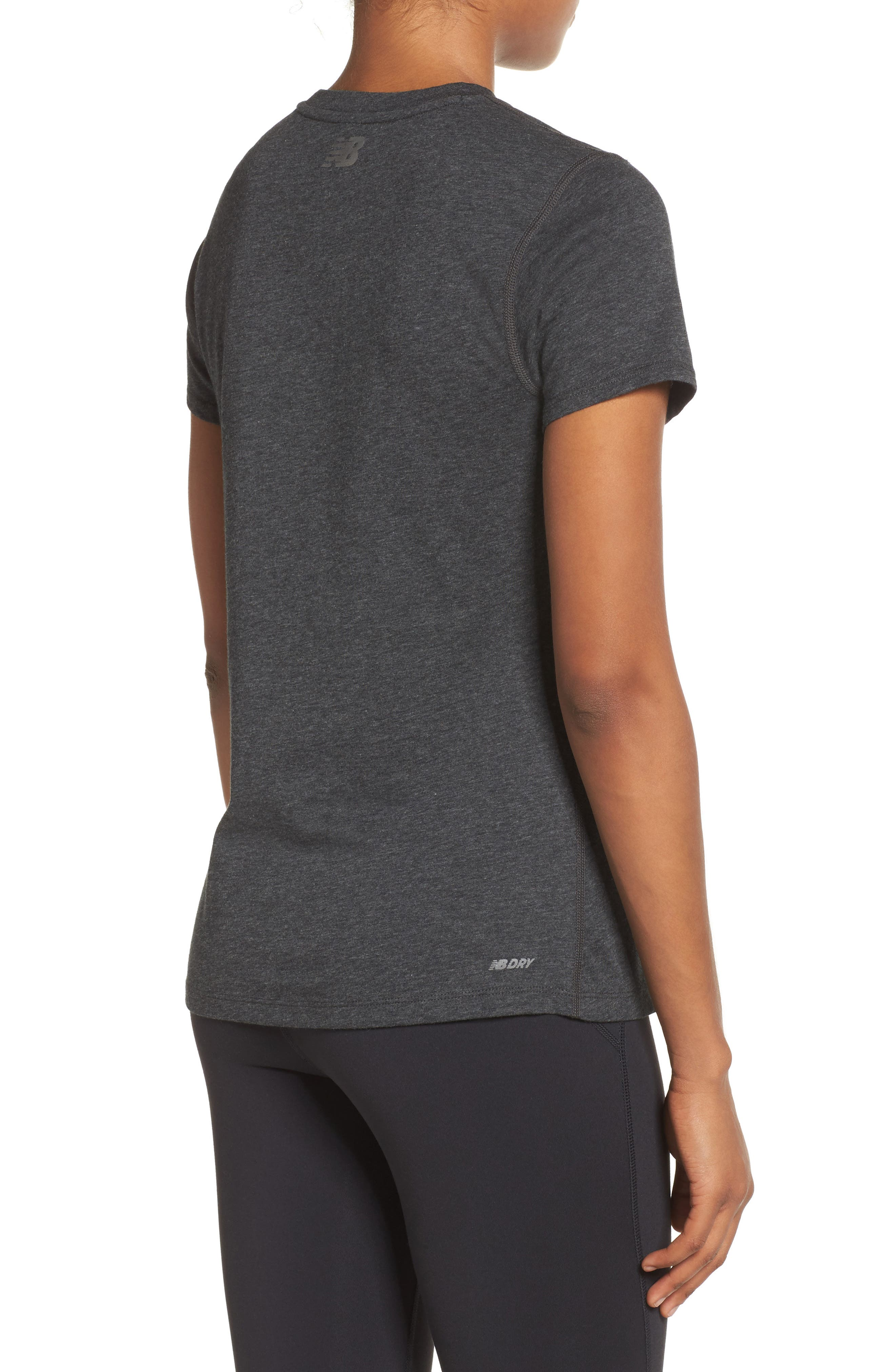 NEW BALANCE,                             Heather Tech Tee,                             Alternate thumbnail 2, color,                             001