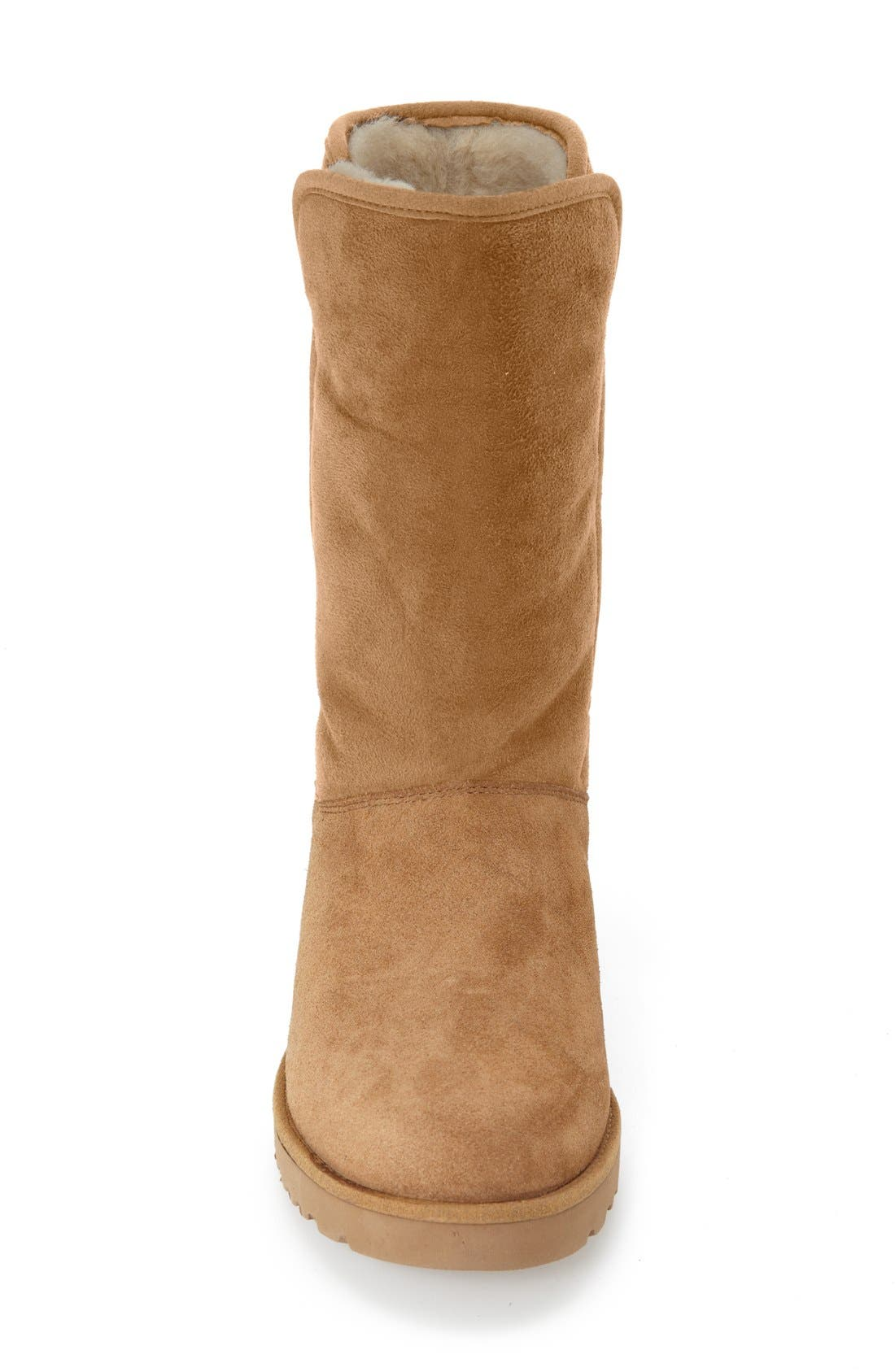Amie - Classic Slim<sup>™</sup> Water Resistant Short Boot,                             Alternate thumbnail 4, color,                             CHESTNUT SUEDE