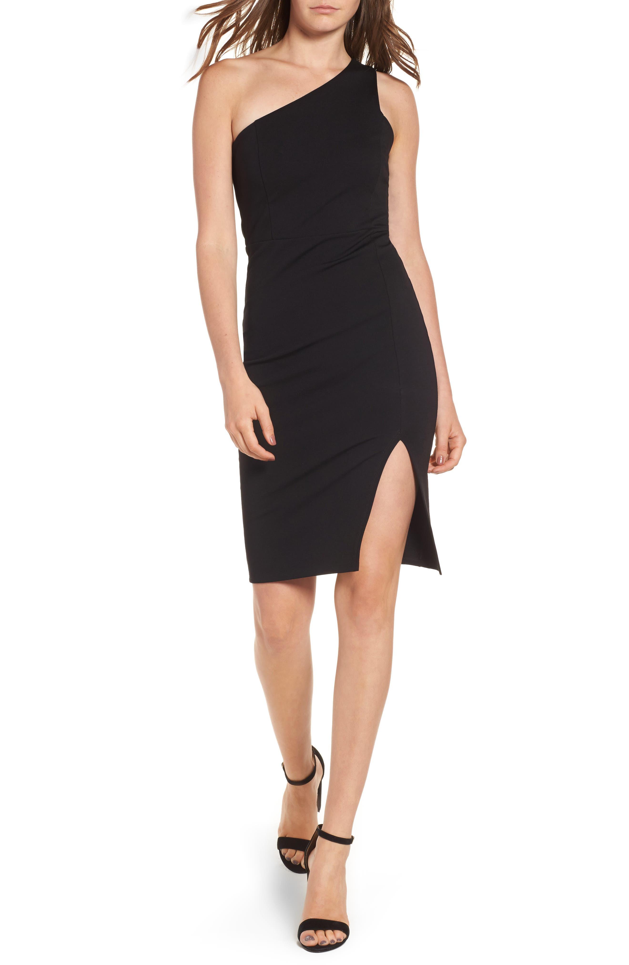 One-Shoulder Body-Con Dress,                         Main,                         color,