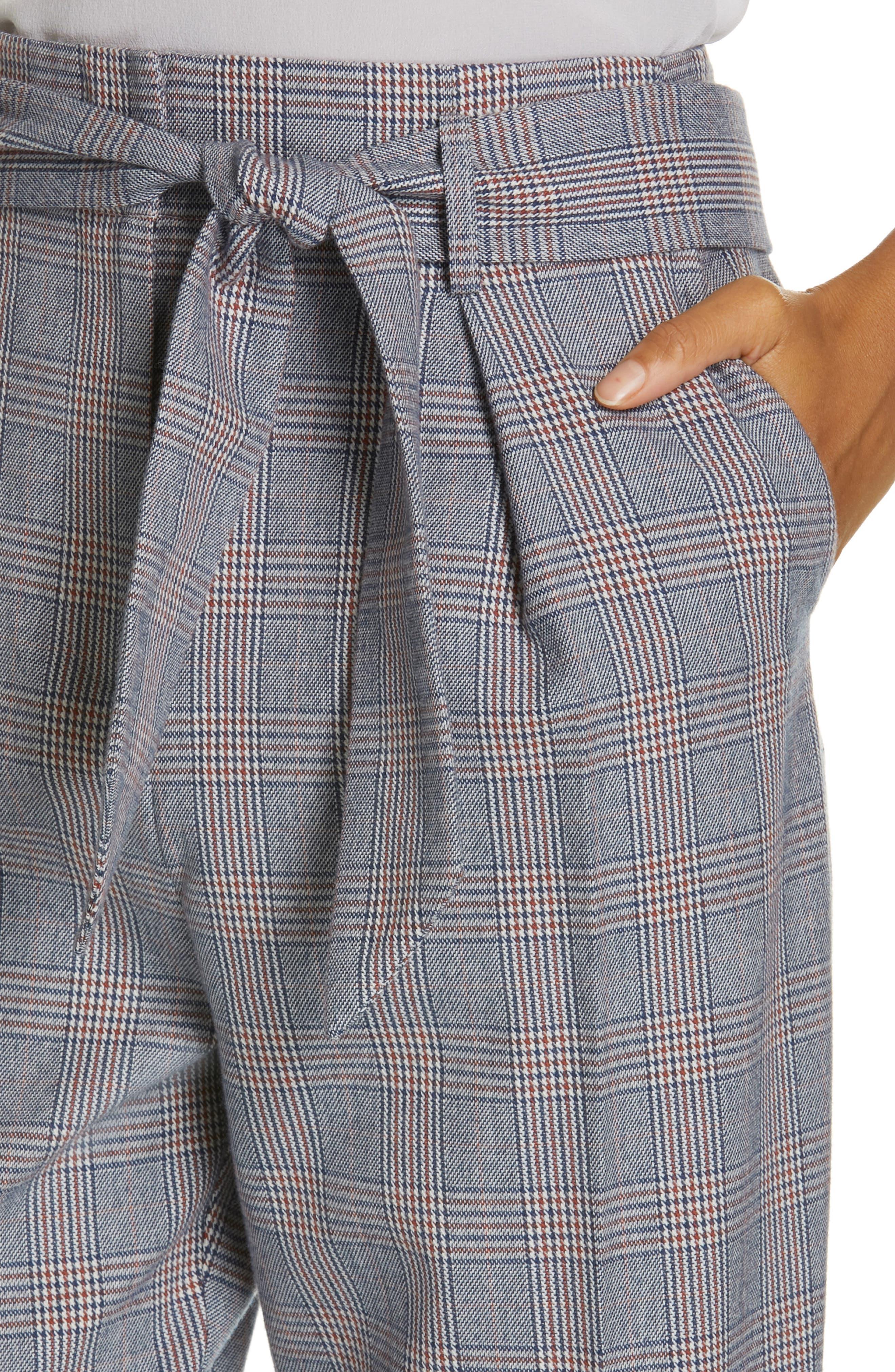 Marcelle Plaid Cotton & Wool Tie Waist Trousers,                             Alternate thumbnail 4, color,                             BLUE MULTI