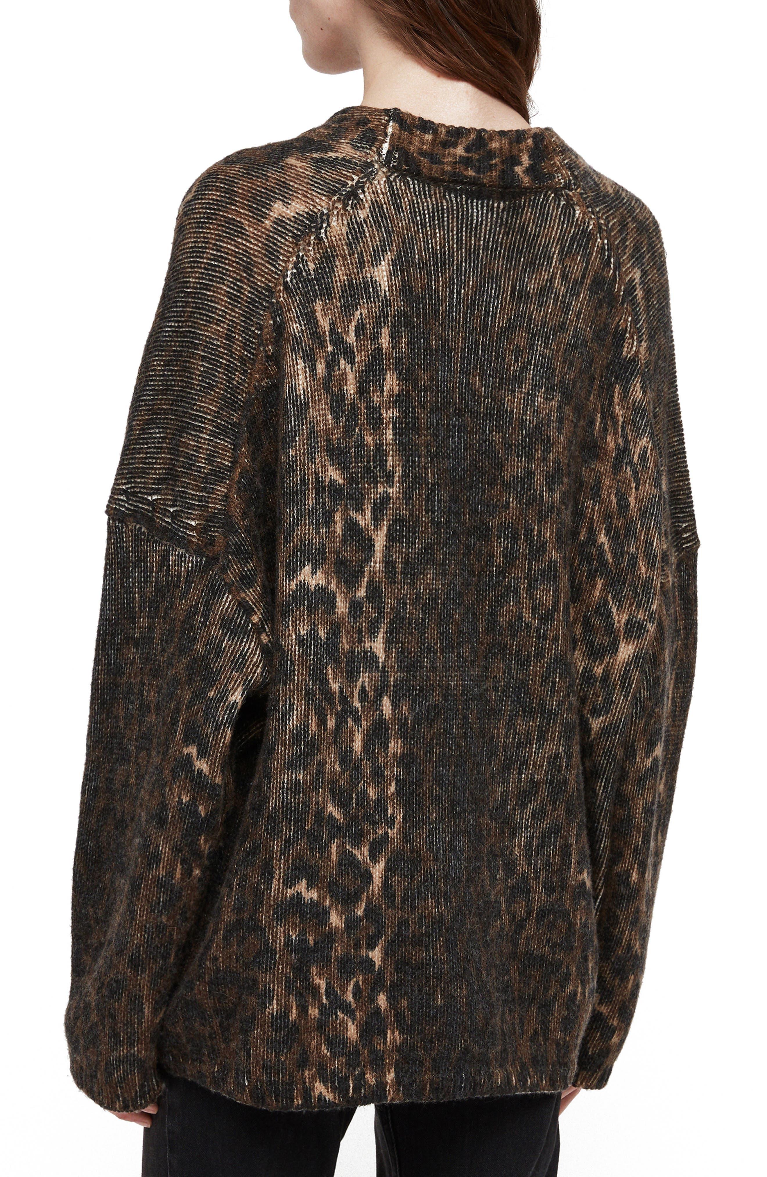 Ph Leopard Wool Blend Cardigan,                             Alternate thumbnail 2, color,                             LEOPARD BROWN