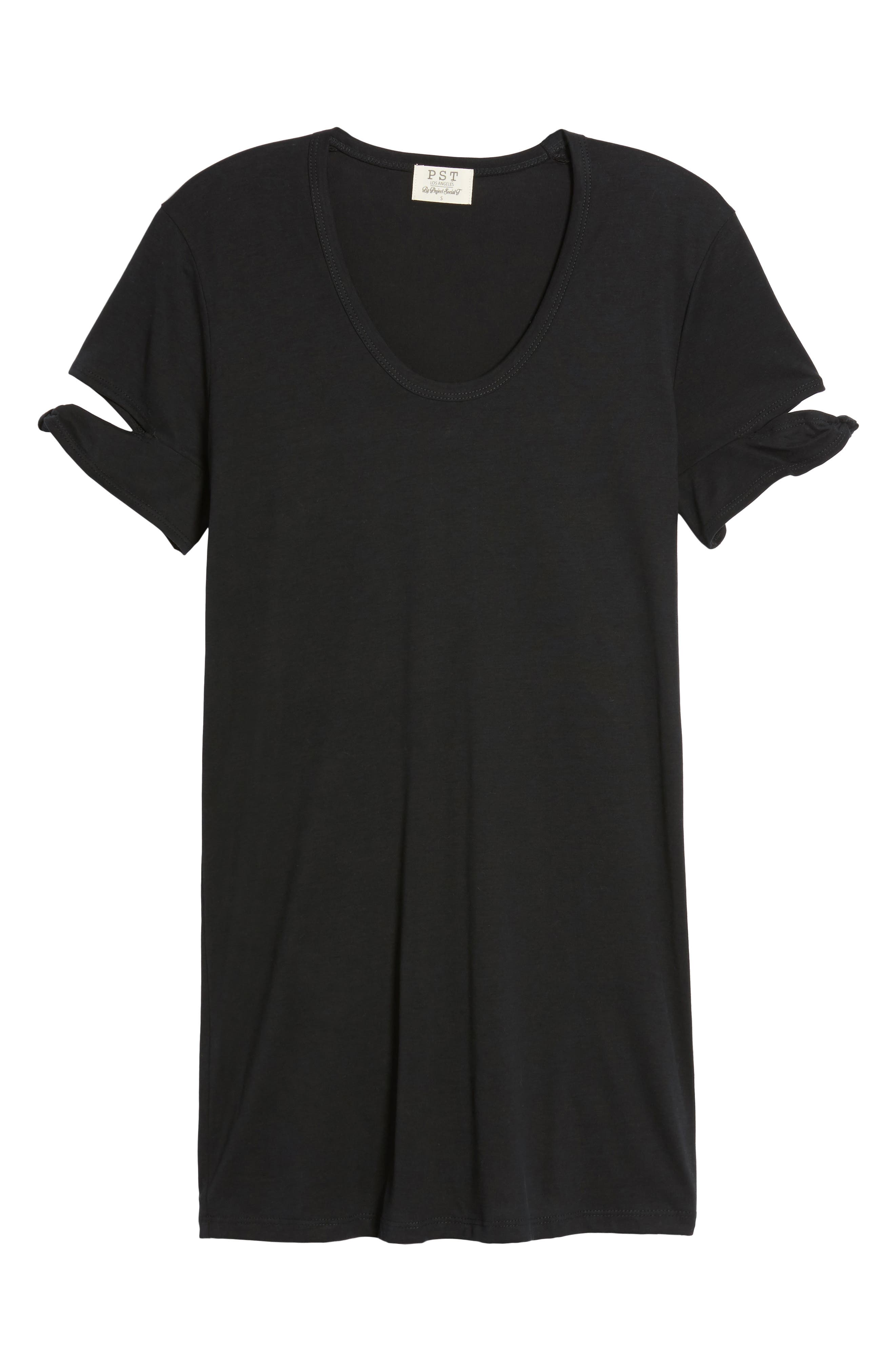 Knotted Sleeve T-Shirt Dress,                             Alternate thumbnail 6, color,                             001