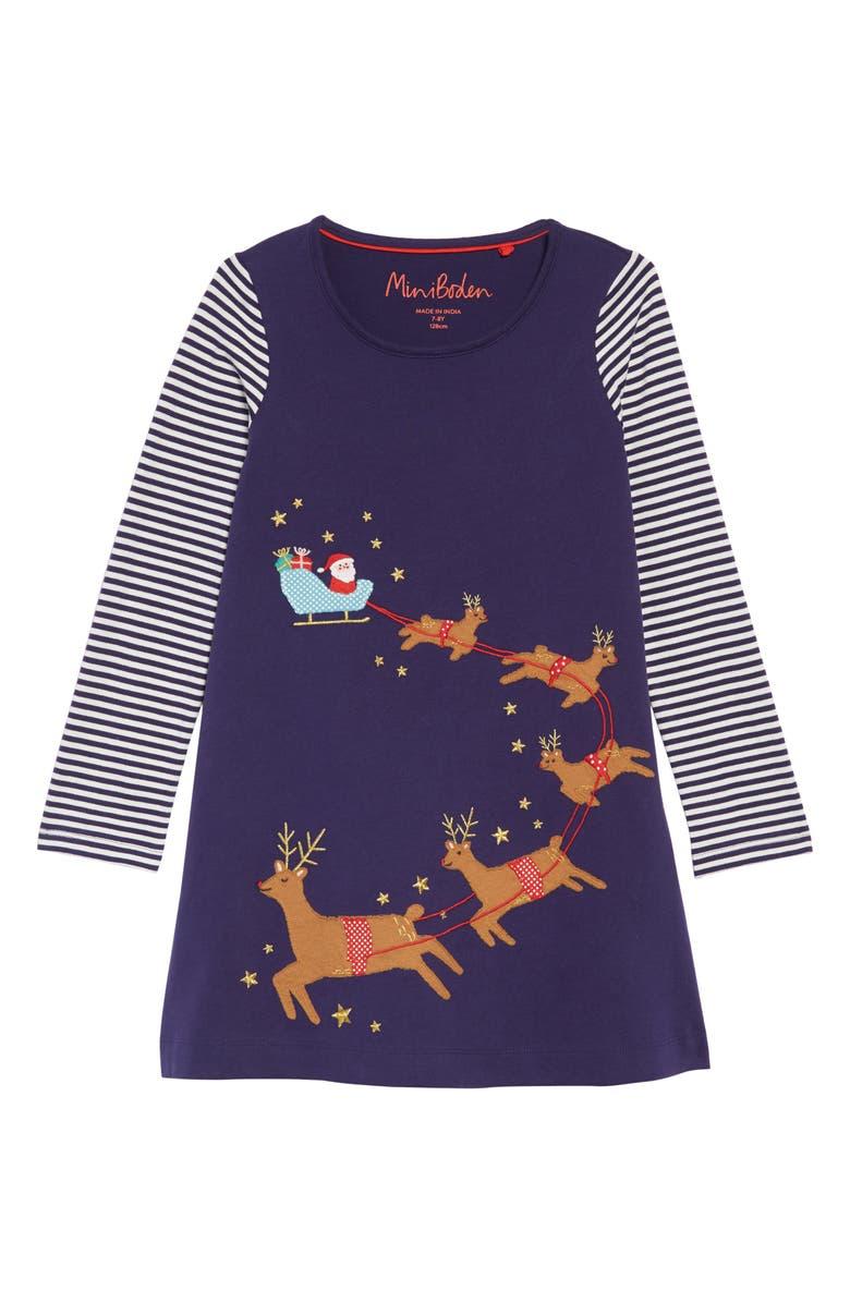 d66637b96b1d Mini Boden Festive Appliqué T-Shirt Dress (Toddler Girls