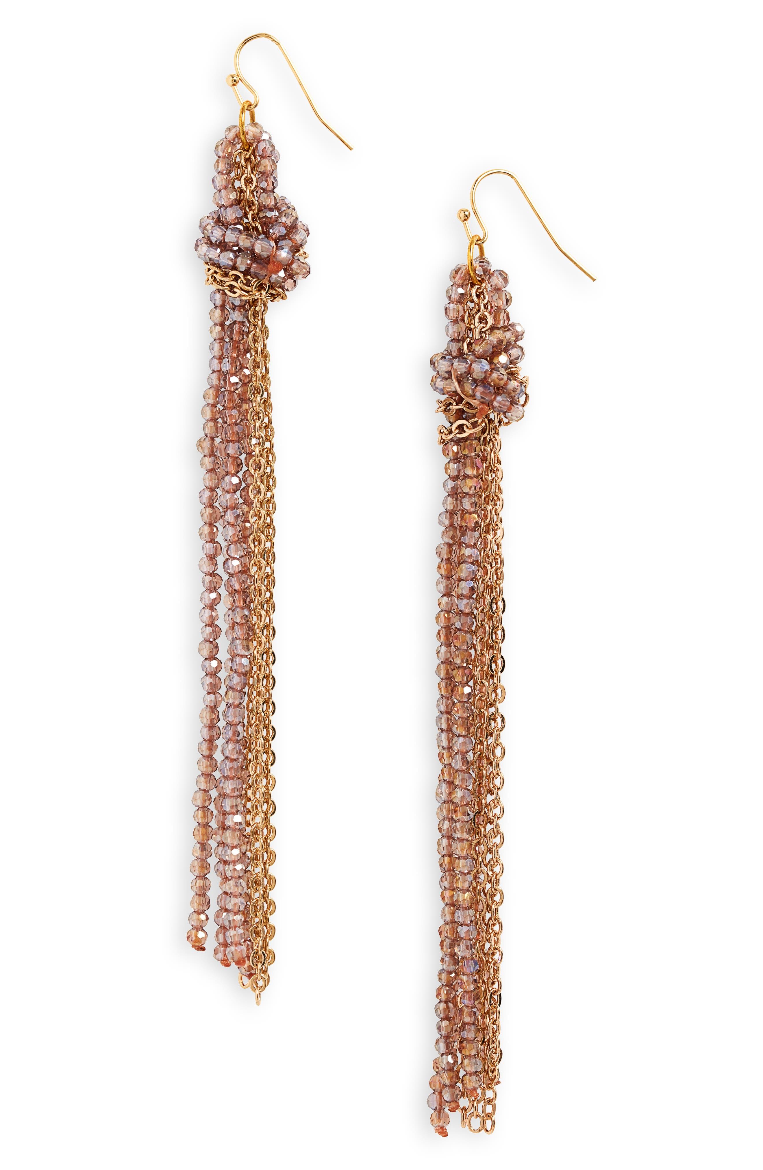 PANACEA Bead & Chain Drop Earrings in Gold