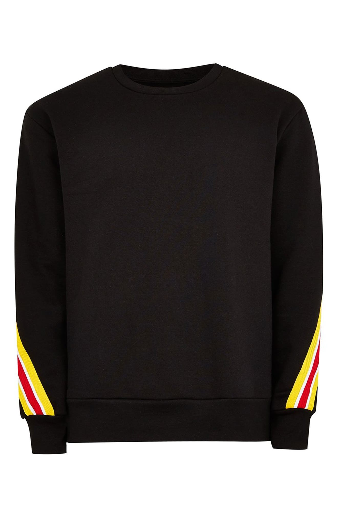 Back Taping Classic Fit Sweatshirt,                             Alternate thumbnail 4, color,                             BLACK MULTI