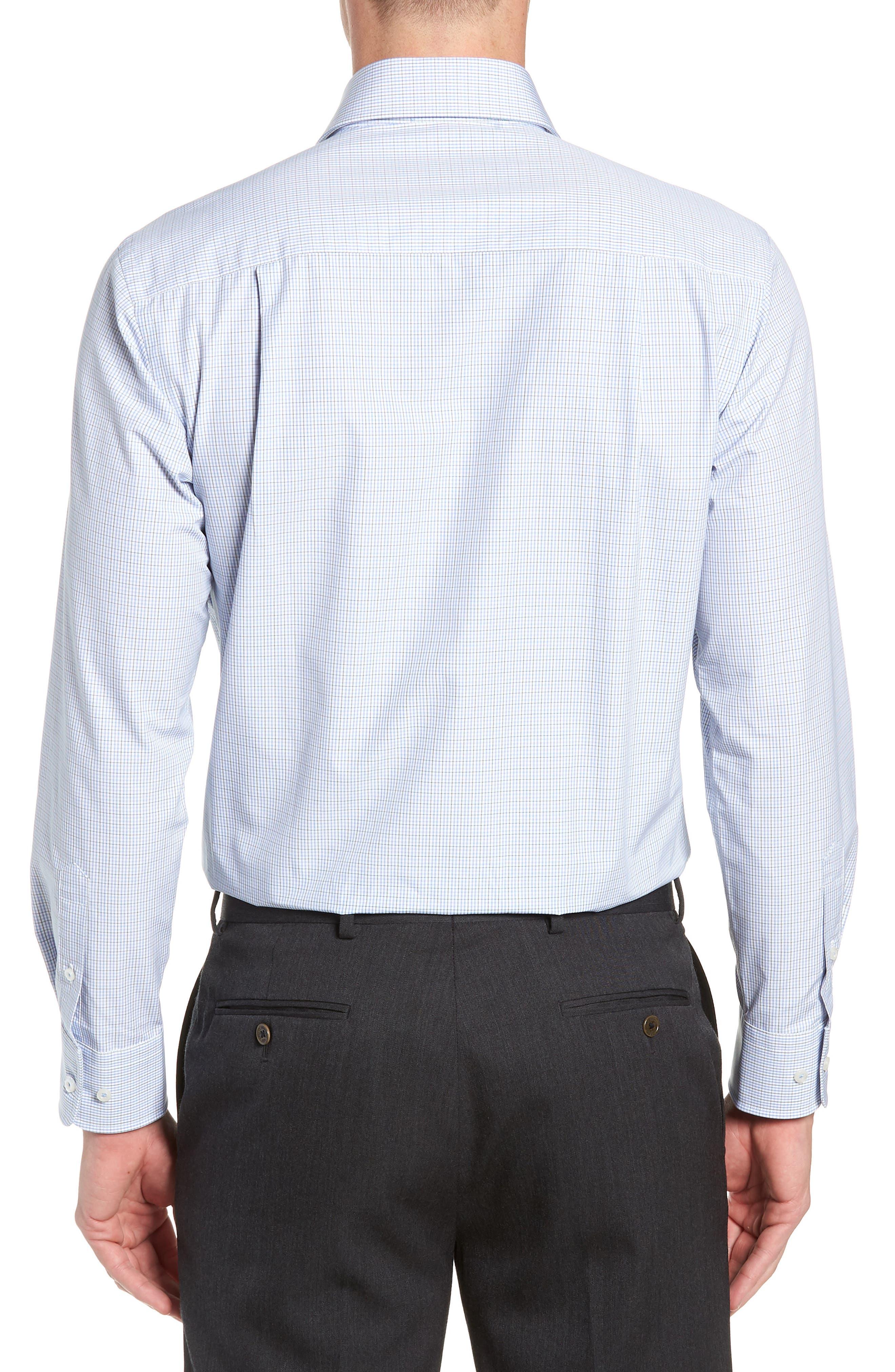 Trim Fit Check Dress Shirt,                             Alternate thumbnail 3, color,                             OLIVE