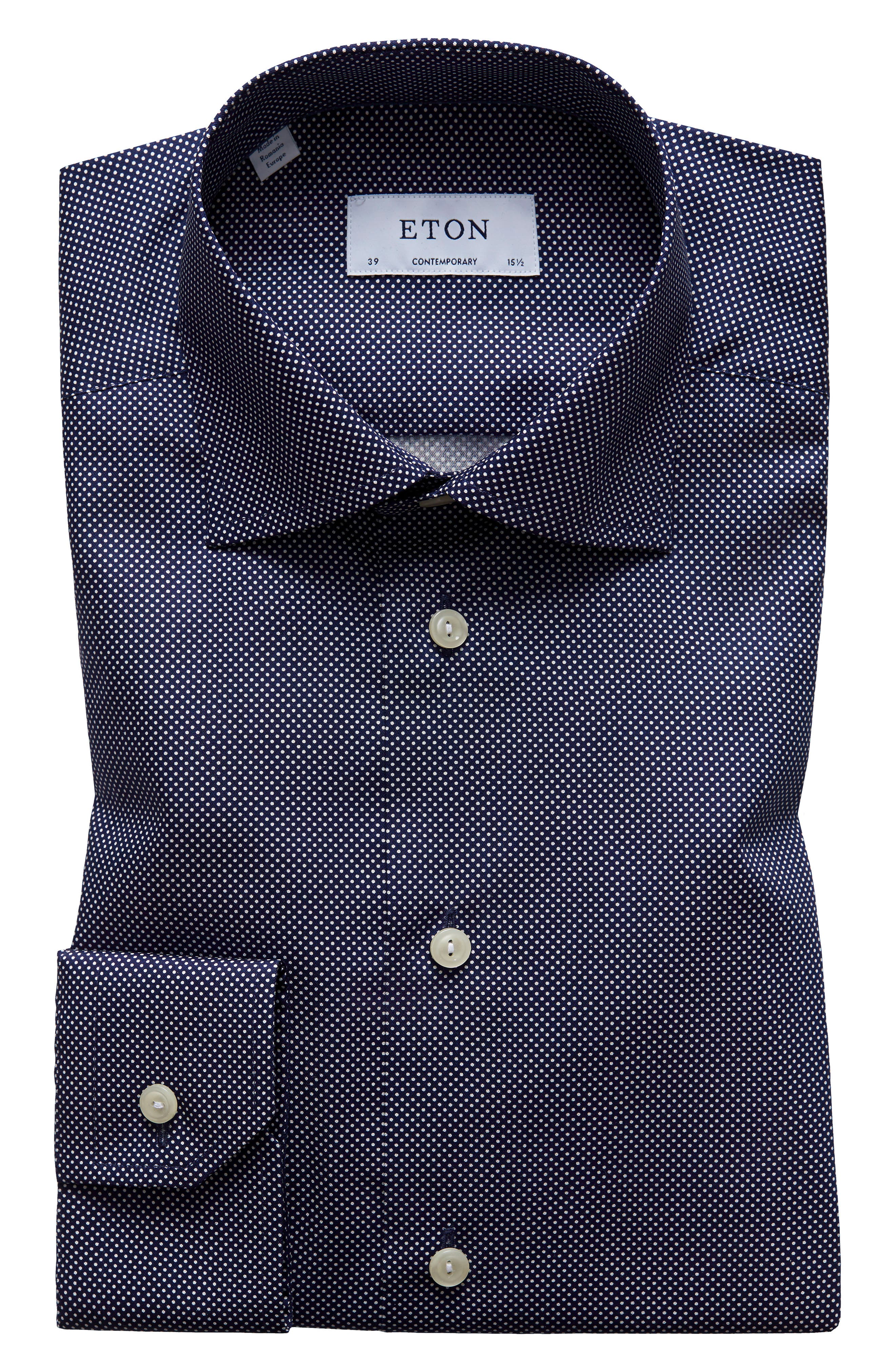Contemporary Fit Signature Polka Dot Dress Shirt,                             Alternate thumbnail 2, color,                             BLUE