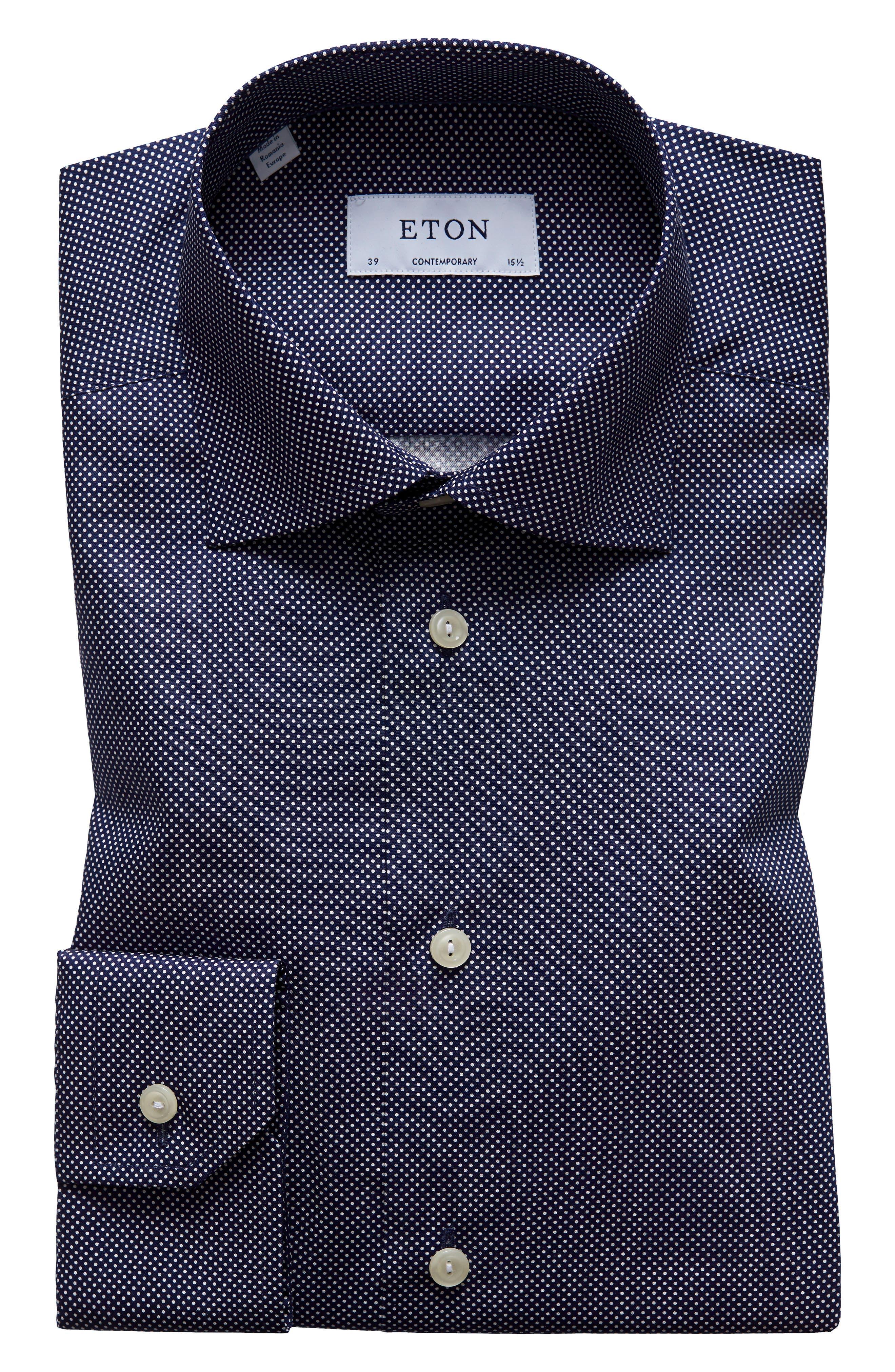 Contemporary Fit Signature Polka Dot Dress Shirt,                             Main thumbnail 1, color,                             BLUE