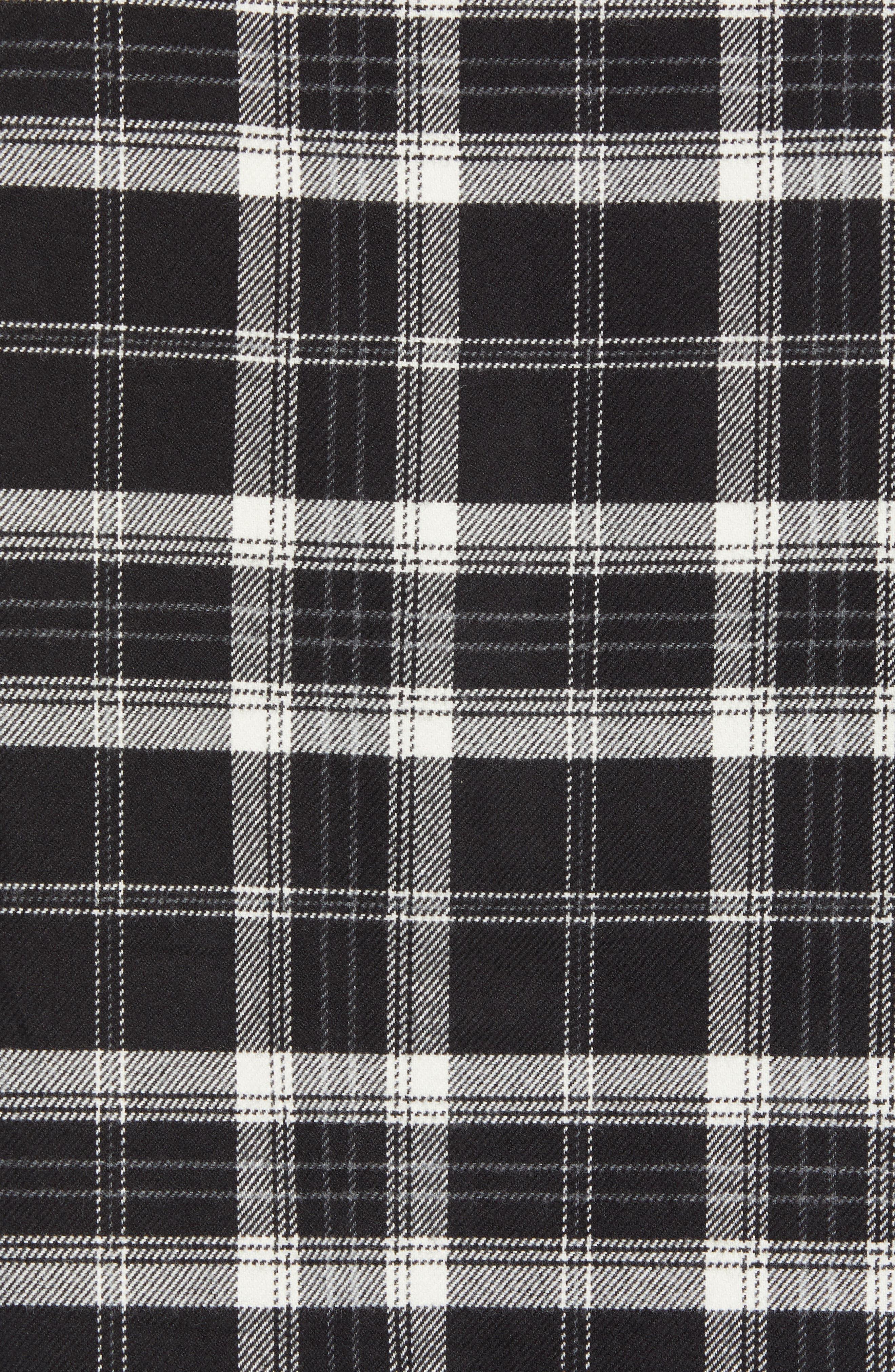 Slim Fit Mini Collar Plaid Flannel Sport Shirt,                             Alternate thumbnail 5, color,                             001