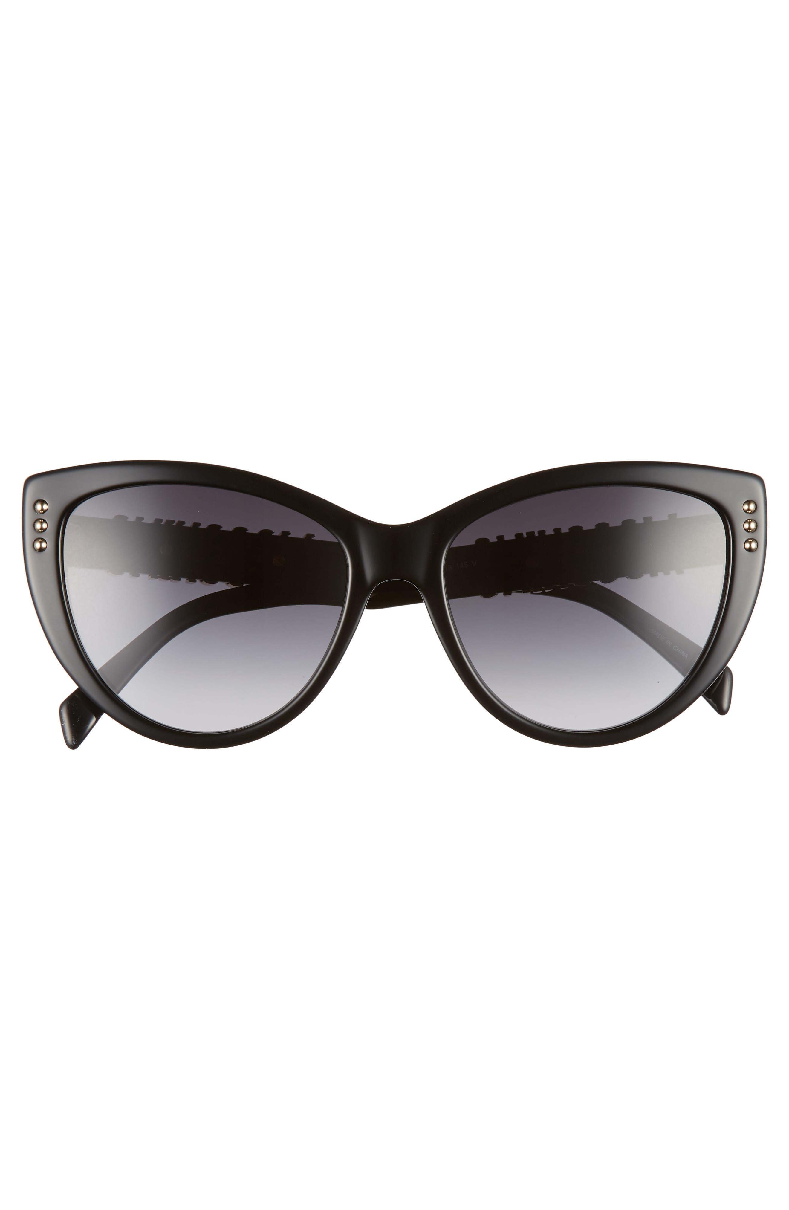 56mm Gradient Cat Eye Sunglasses,                             Alternate thumbnail 3, color,                             BLACK