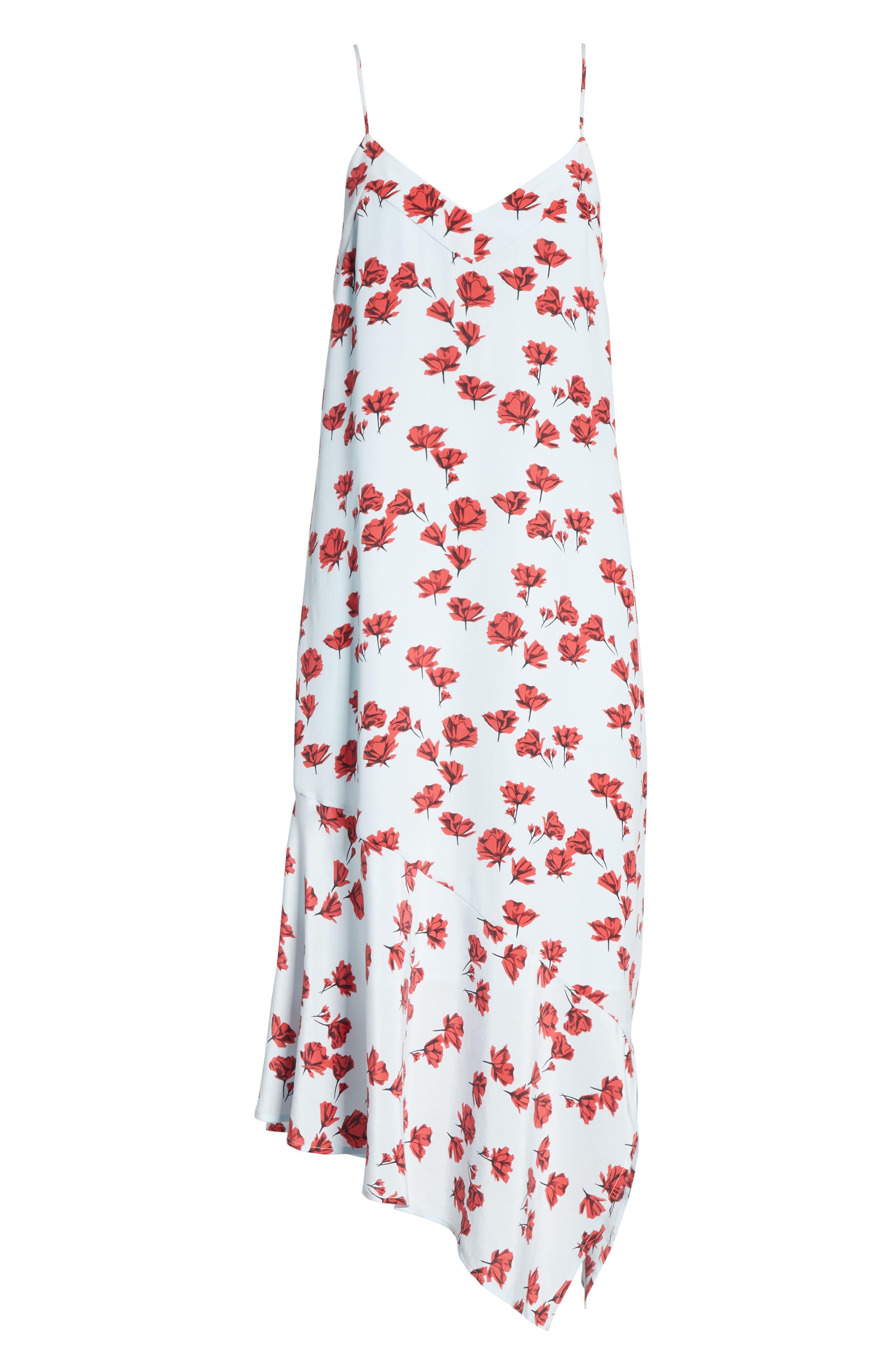 Jada Floral Print Silk Slipdress,                             Alternate thumbnail 6, color,