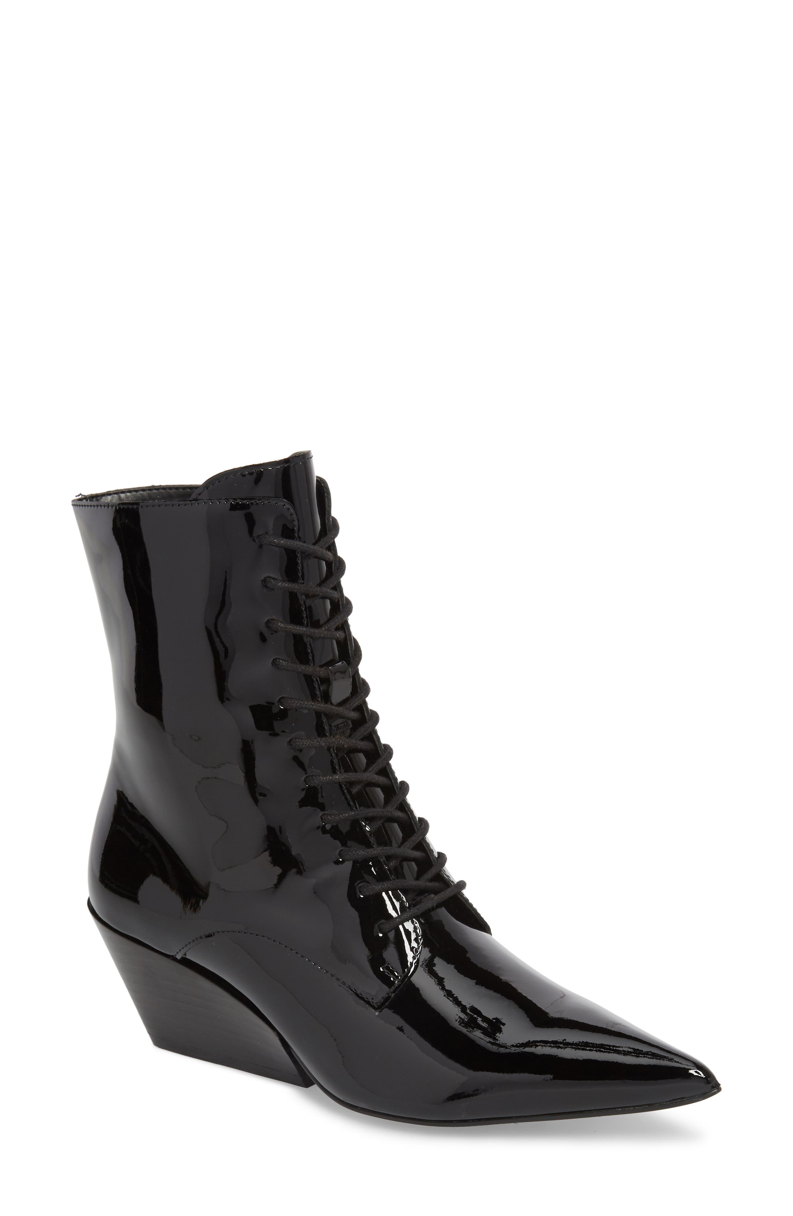 Faith Pointy Toe Laced Bootie,                             Main thumbnail 1, color,                             BLACK PATENT