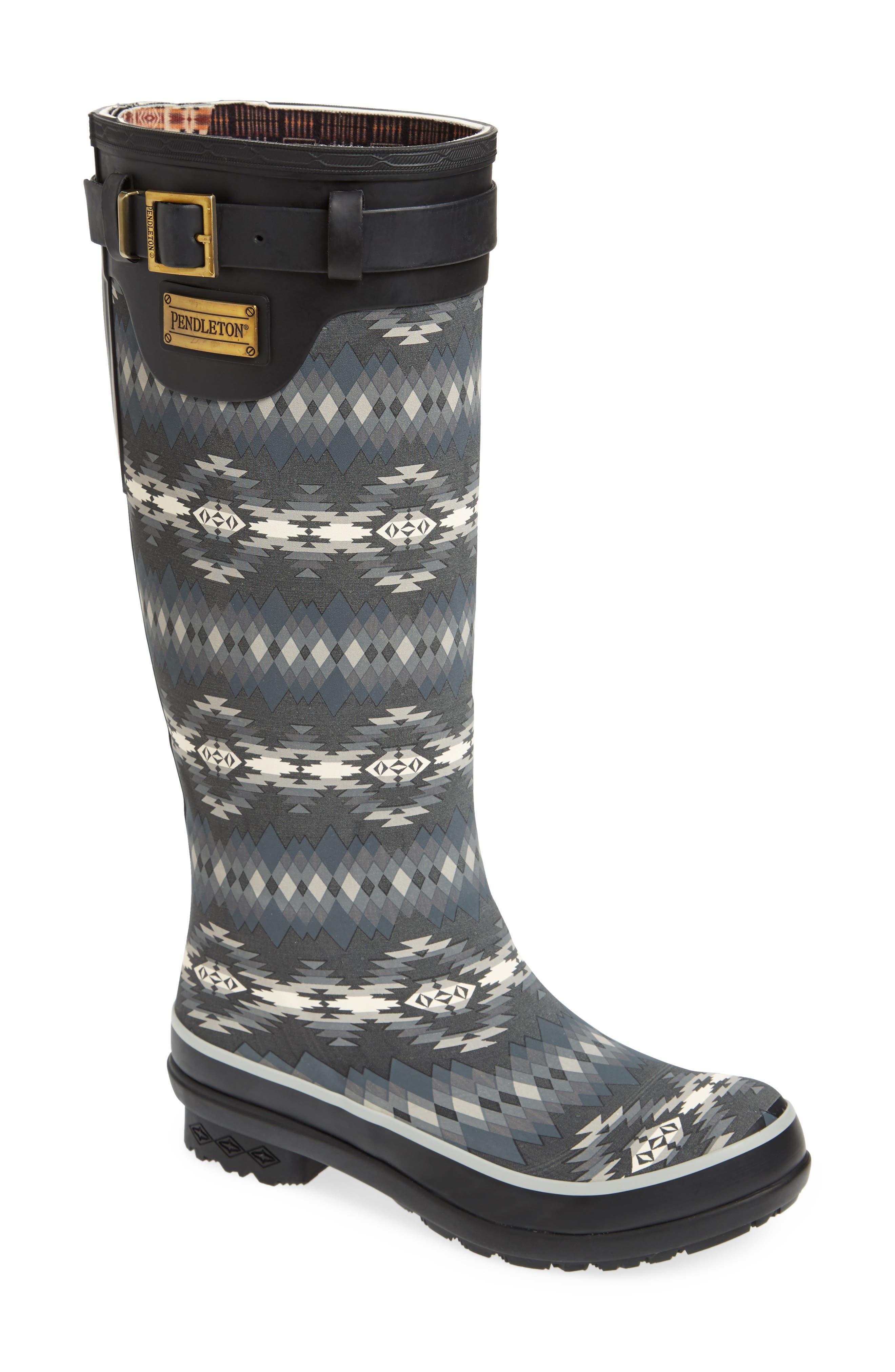 Pendleton Papago Park Tall Rain Boot,                             Main thumbnail 1, color,                             BLACK