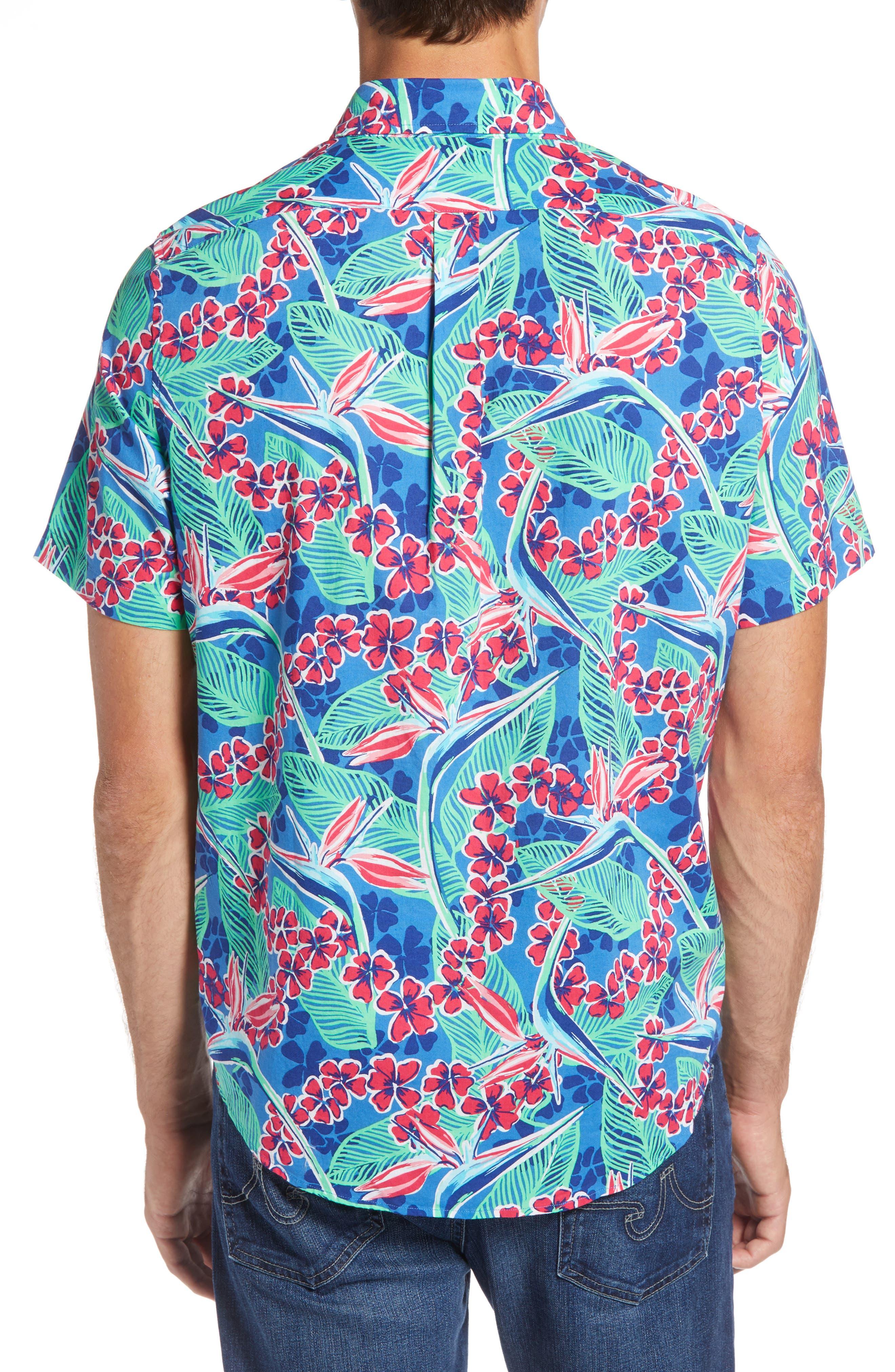 Murray Slim Fit Floral Sport Shirt,                             Alternate thumbnail 3, color,                             400