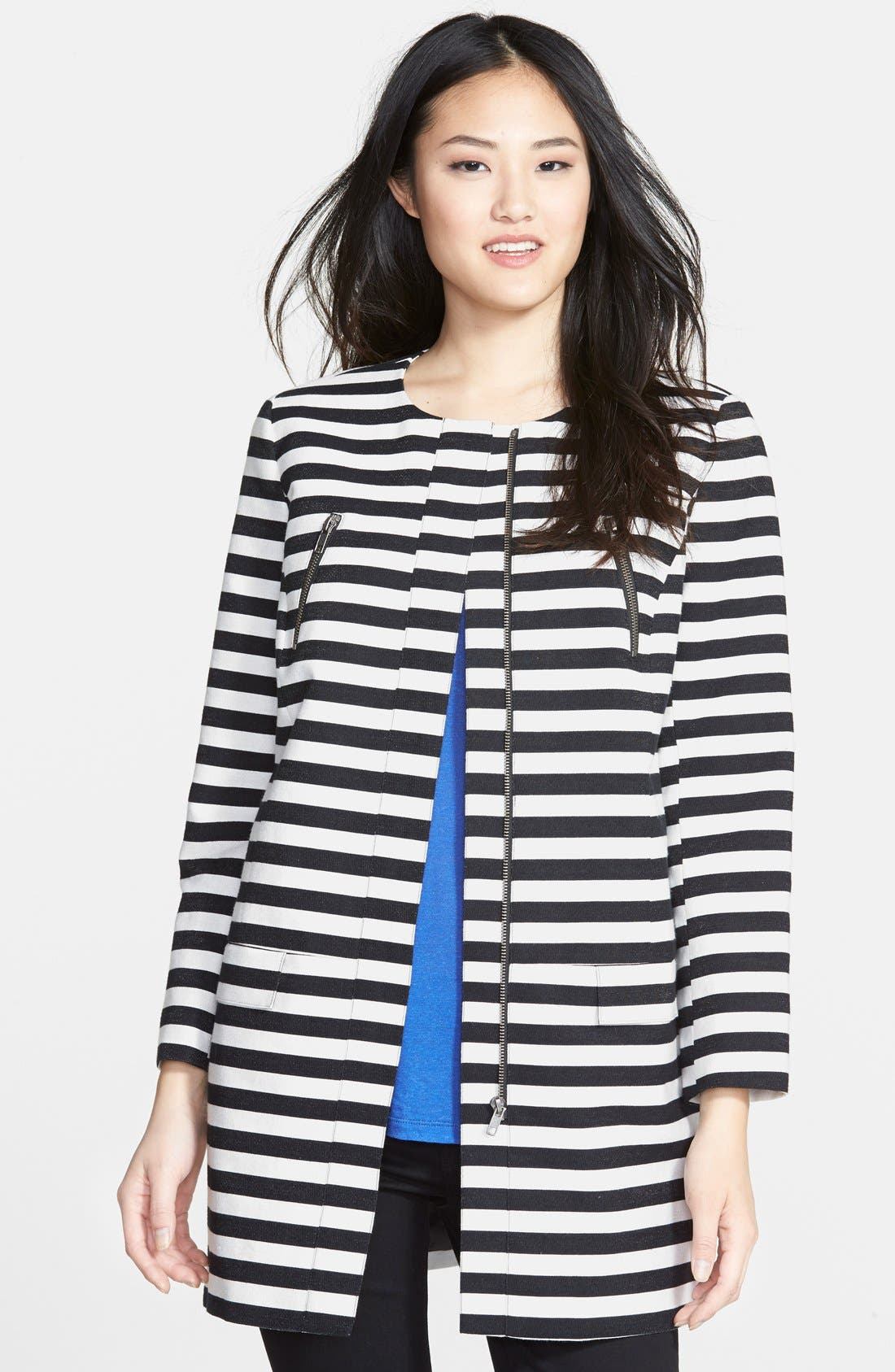 HALOGEN<SUP>®</SUP> Stripe Collarless Topper, Main, color, 001
