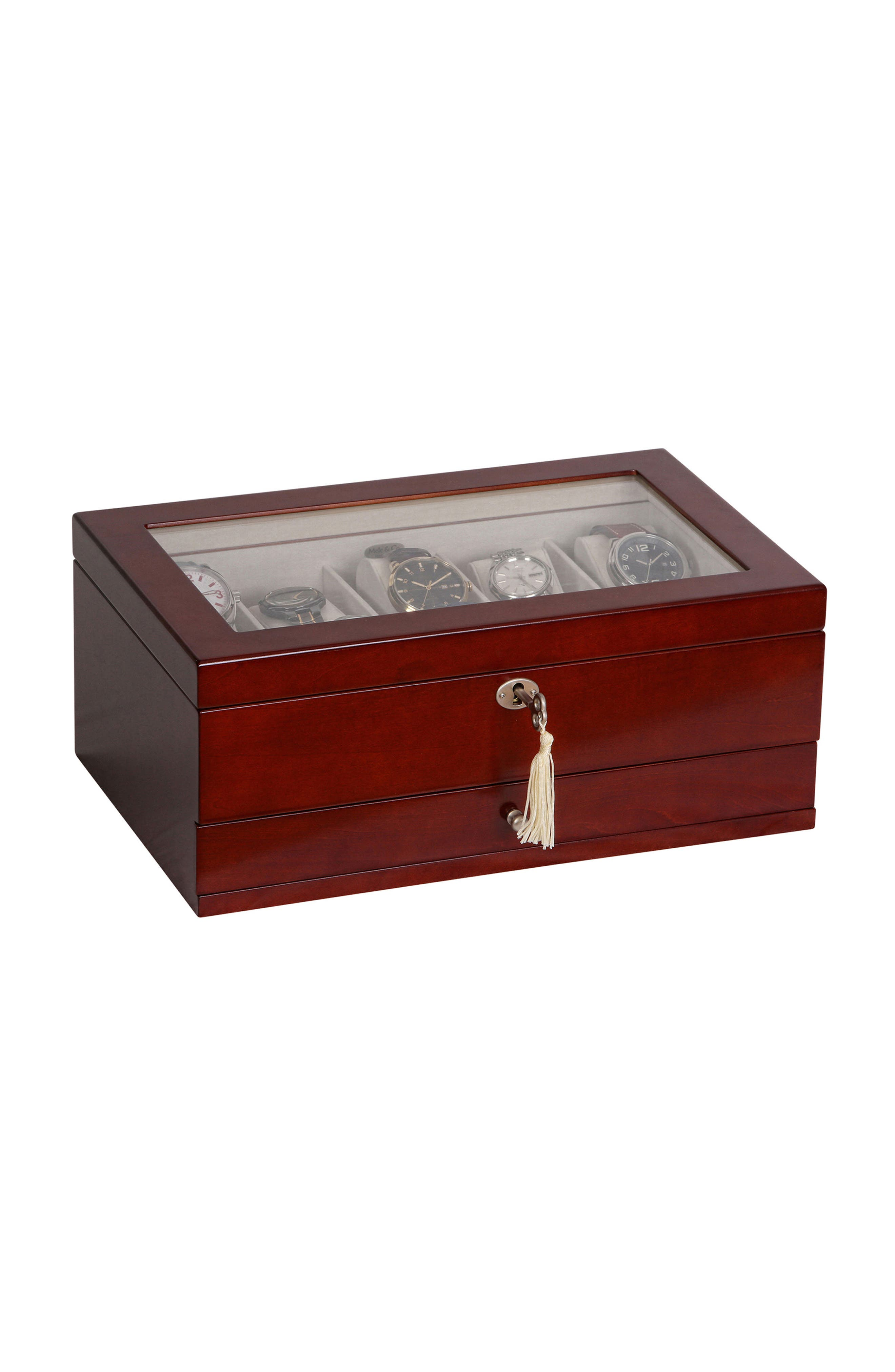 Christo Locking Watch & Jewelry Box,                             Main thumbnail 1, color,                             BROWN