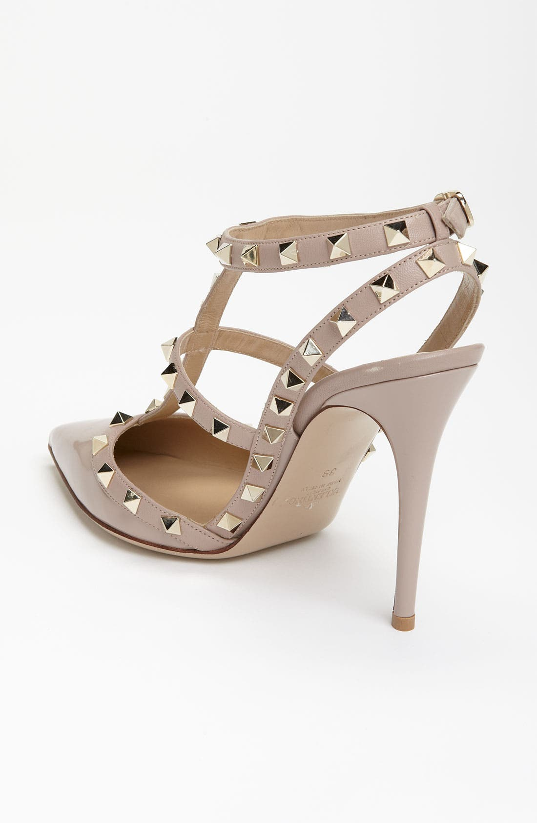 Rockstud T-Strap Pump,                             Alternate thumbnail 2, color,                             POUDRE PATENT