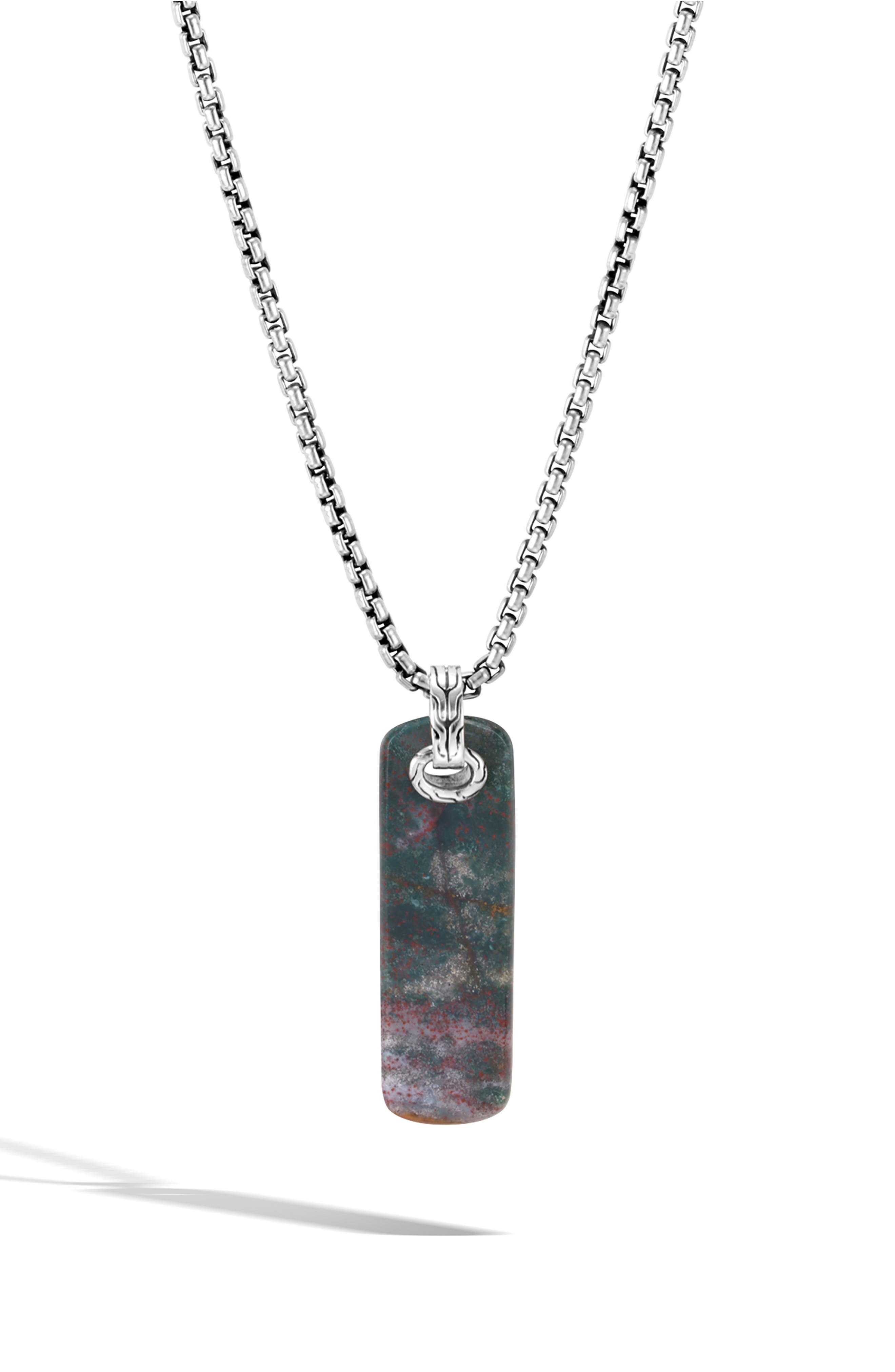 Men's Classic Chain Pendant Necklace,                         Main,                         color, SILVER/ DRAGON BLOOD JASPER
