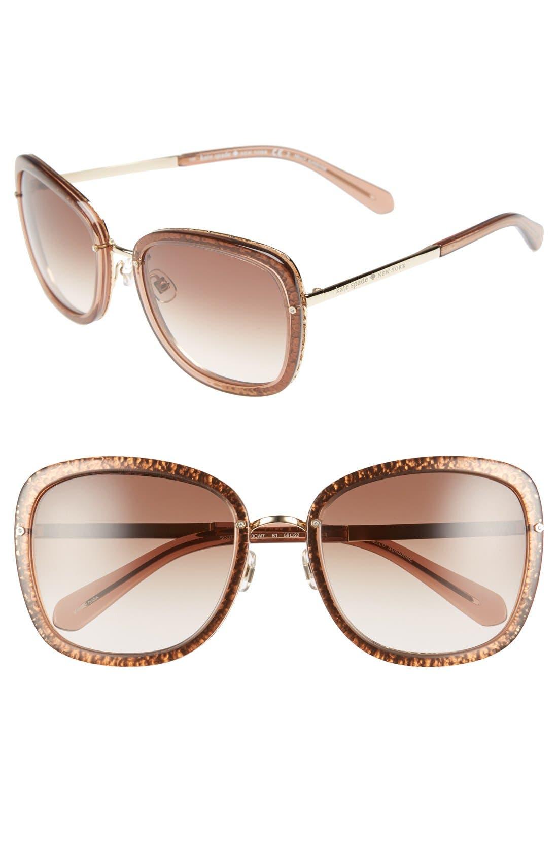 KATE SPADE NEW YORK 'scottie' 56mm retro sunglasses, Main, color, 200