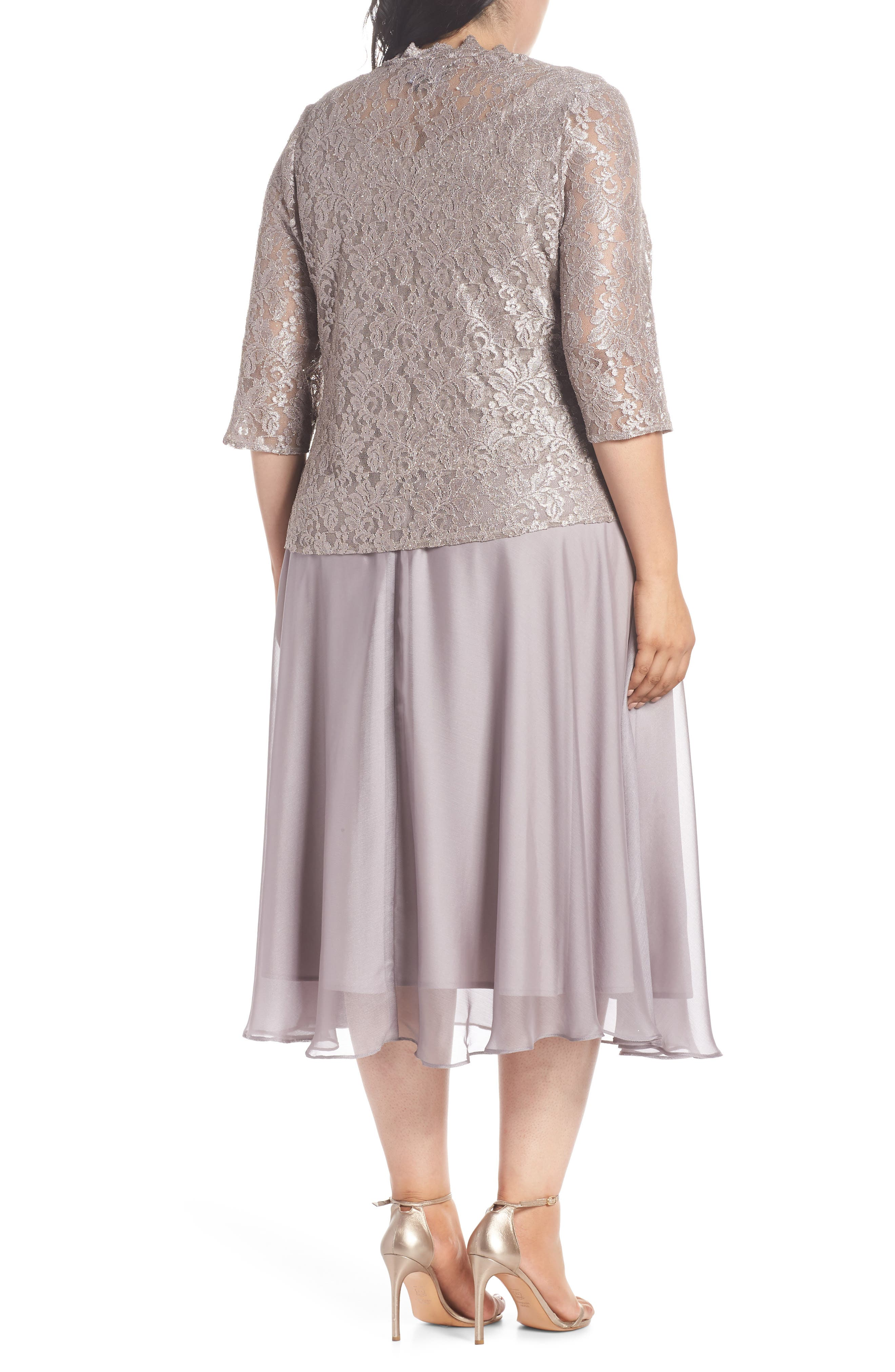 Lace Bodice Tea Length Dress with Jacket,                             Alternate thumbnail 2, color,                             MINK