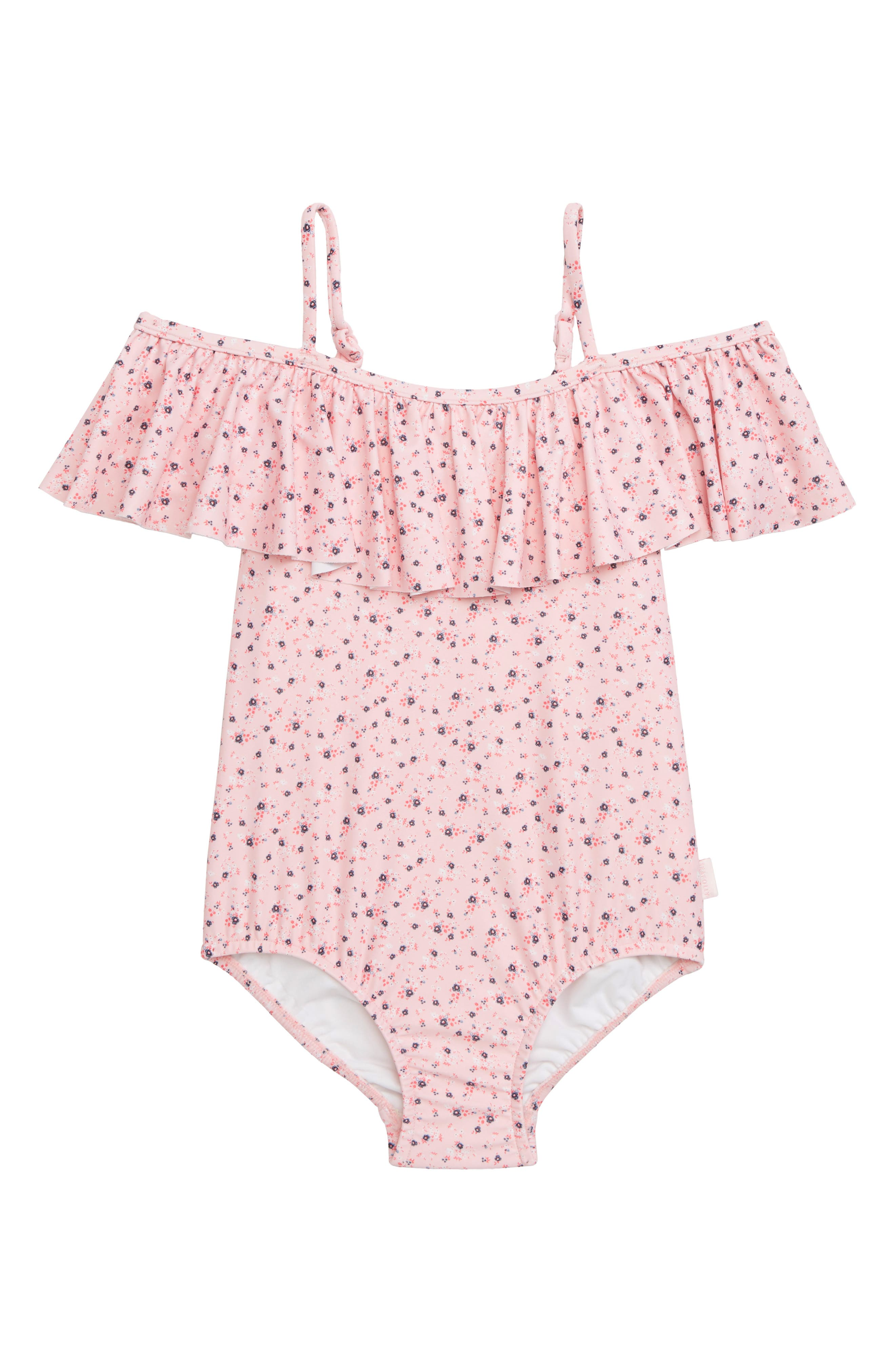 Beach Rose Ruffle One-Piece Swimsuit,                         Main,                         color, BLOSSOM PINK