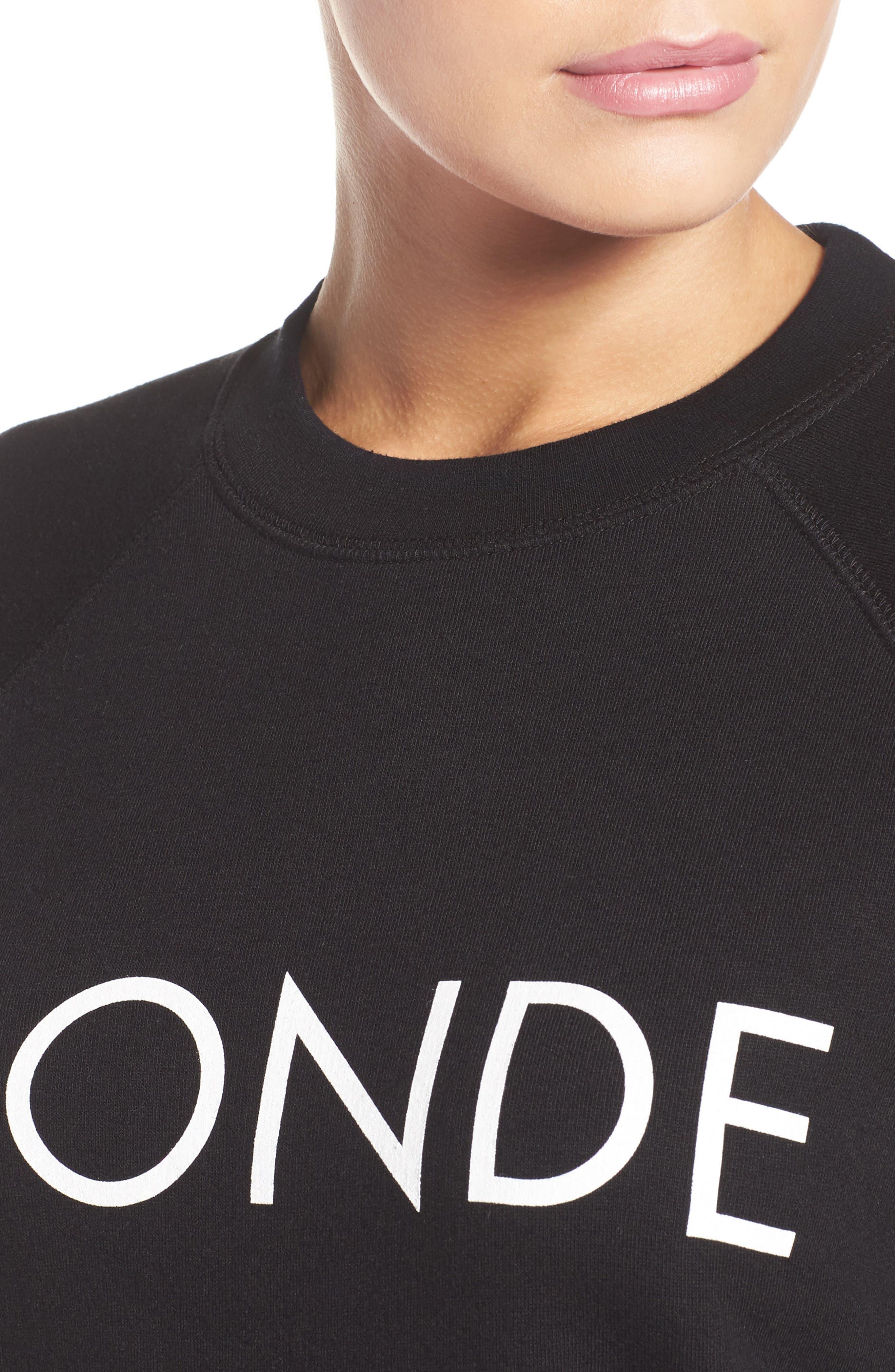 Blonde Crewneck Sweatshirt,                             Alternate thumbnail 4, color,                             001