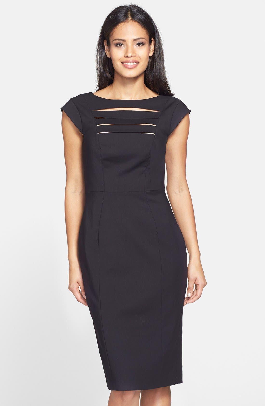 'Estelle' Cutout Cotton Blend Sheath Dress,                             Main thumbnail 1, color,