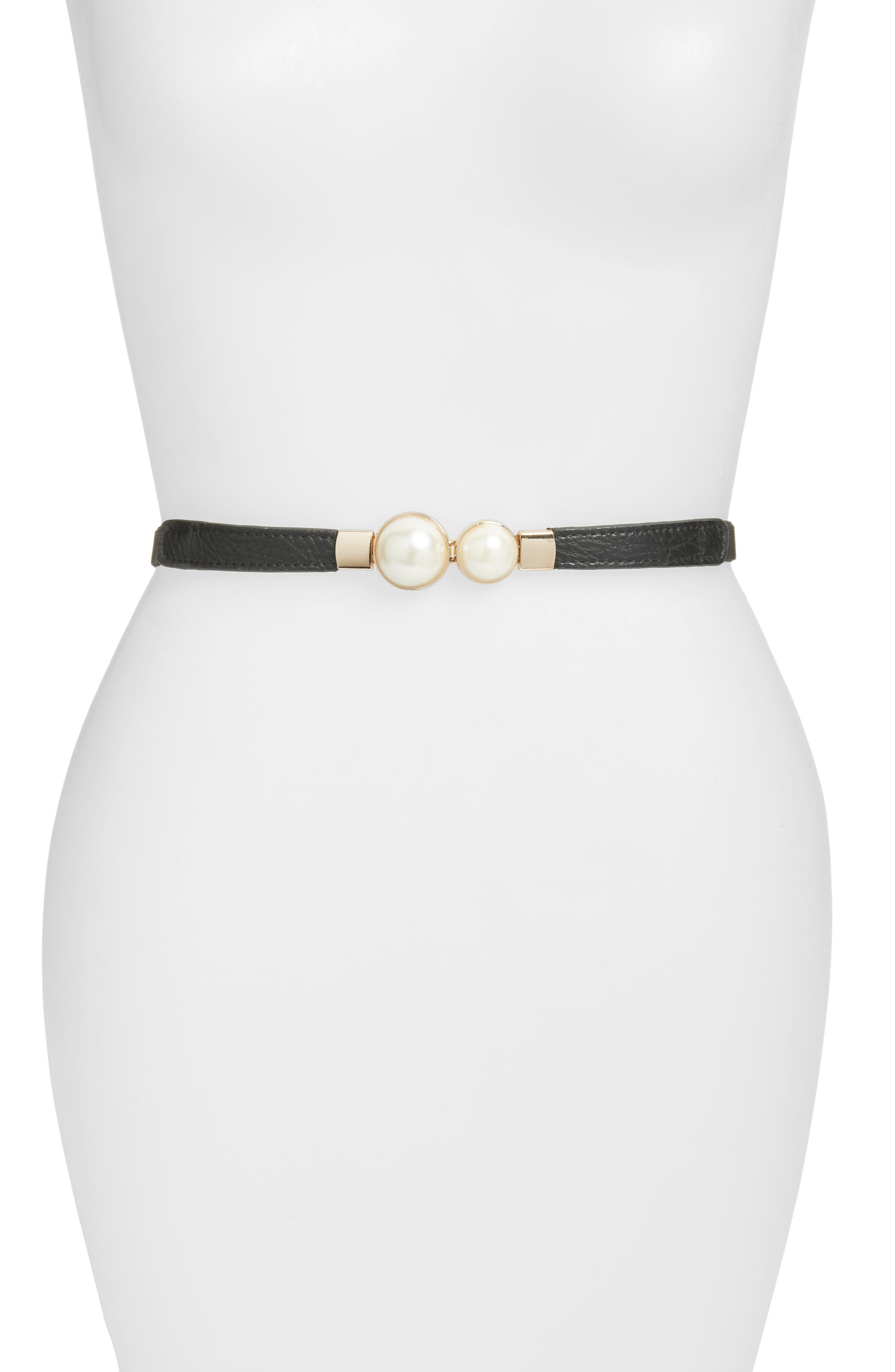 Tearose Imitation Pearl Stretch Belt,                         Main,                         color, 001