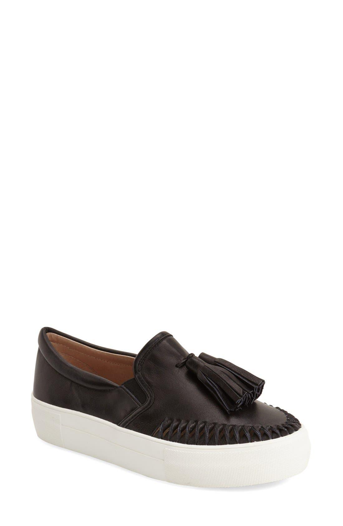 Tassel Slip-On Sneaker,                             Main thumbnail 1, color,                             BLACK LEATHER