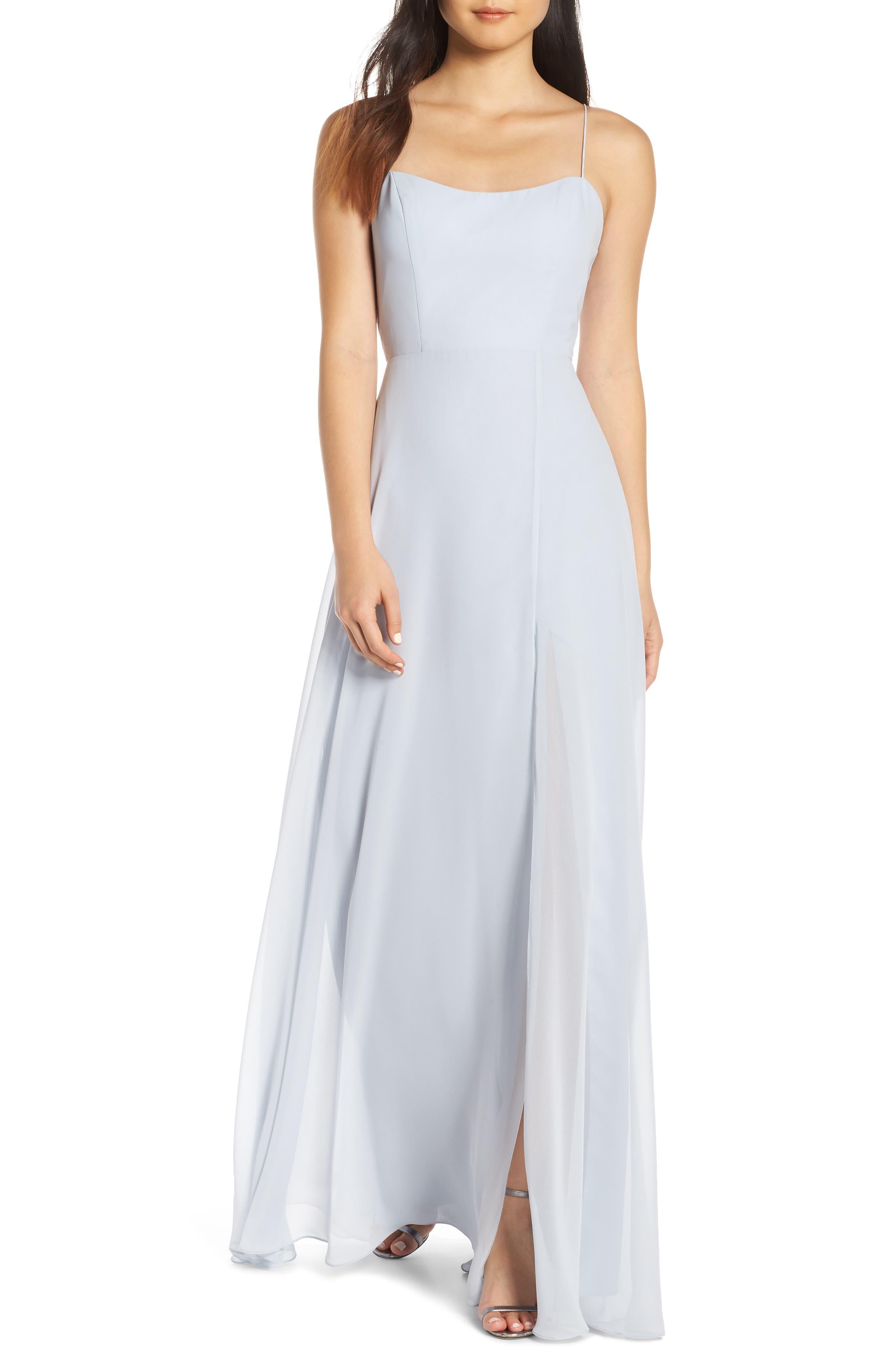 Jenny Yoo Kiara Bow Back Chiffon Evening Dress, Blue