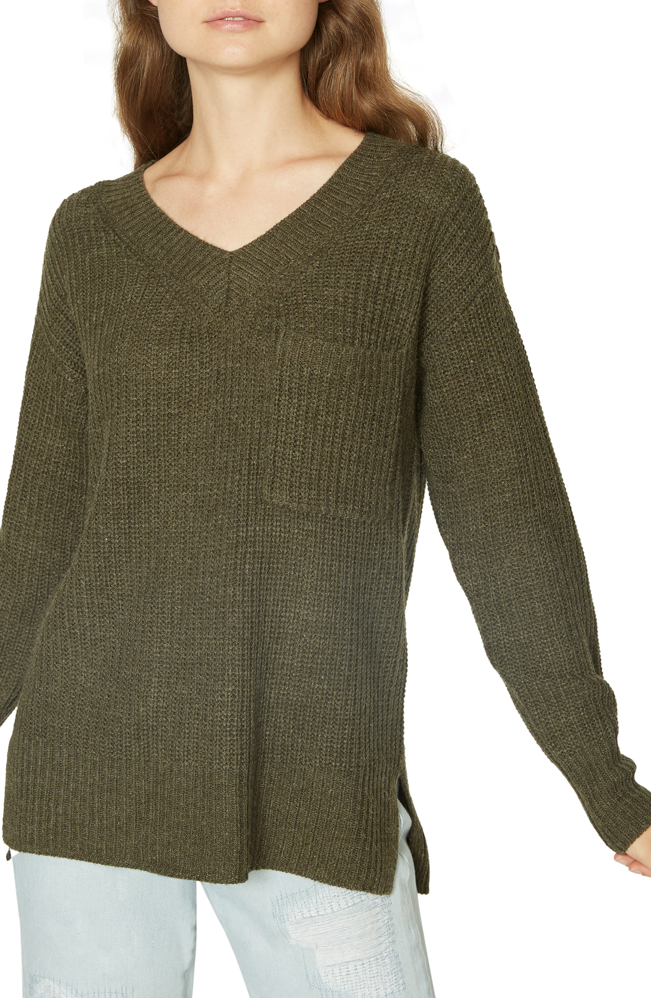 Amare Shaker Sweater,                             Main thumbnail 1, color,                             HEATHER PROSPERITY GREEN