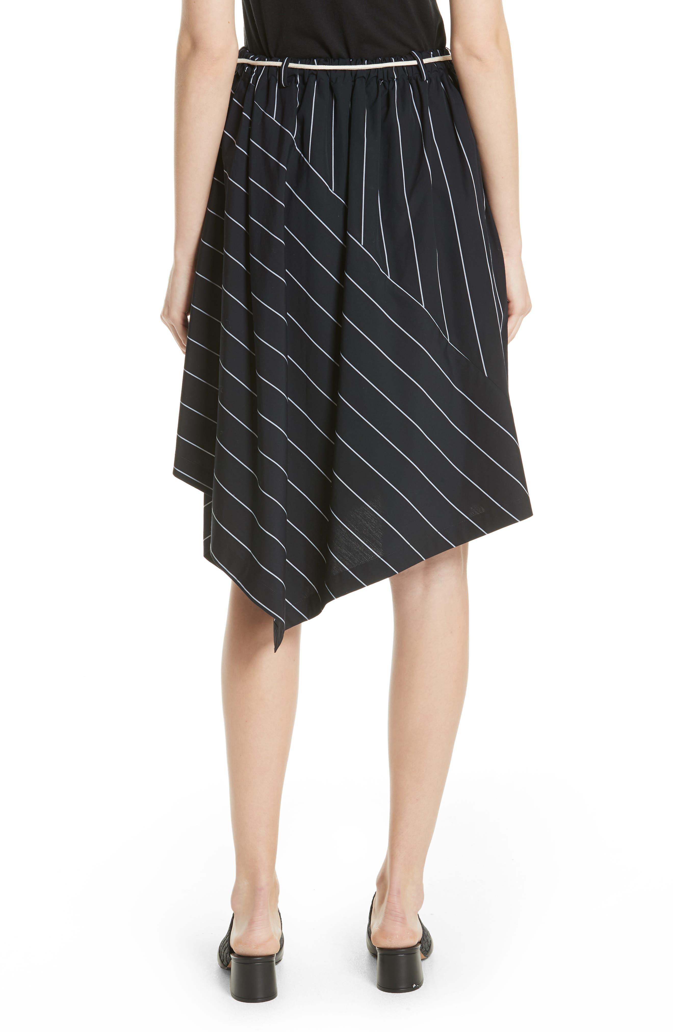 Skinny Stripe Asymmetrical Cotton Skirt,                             Alternate thumbnail 2, color,                             435