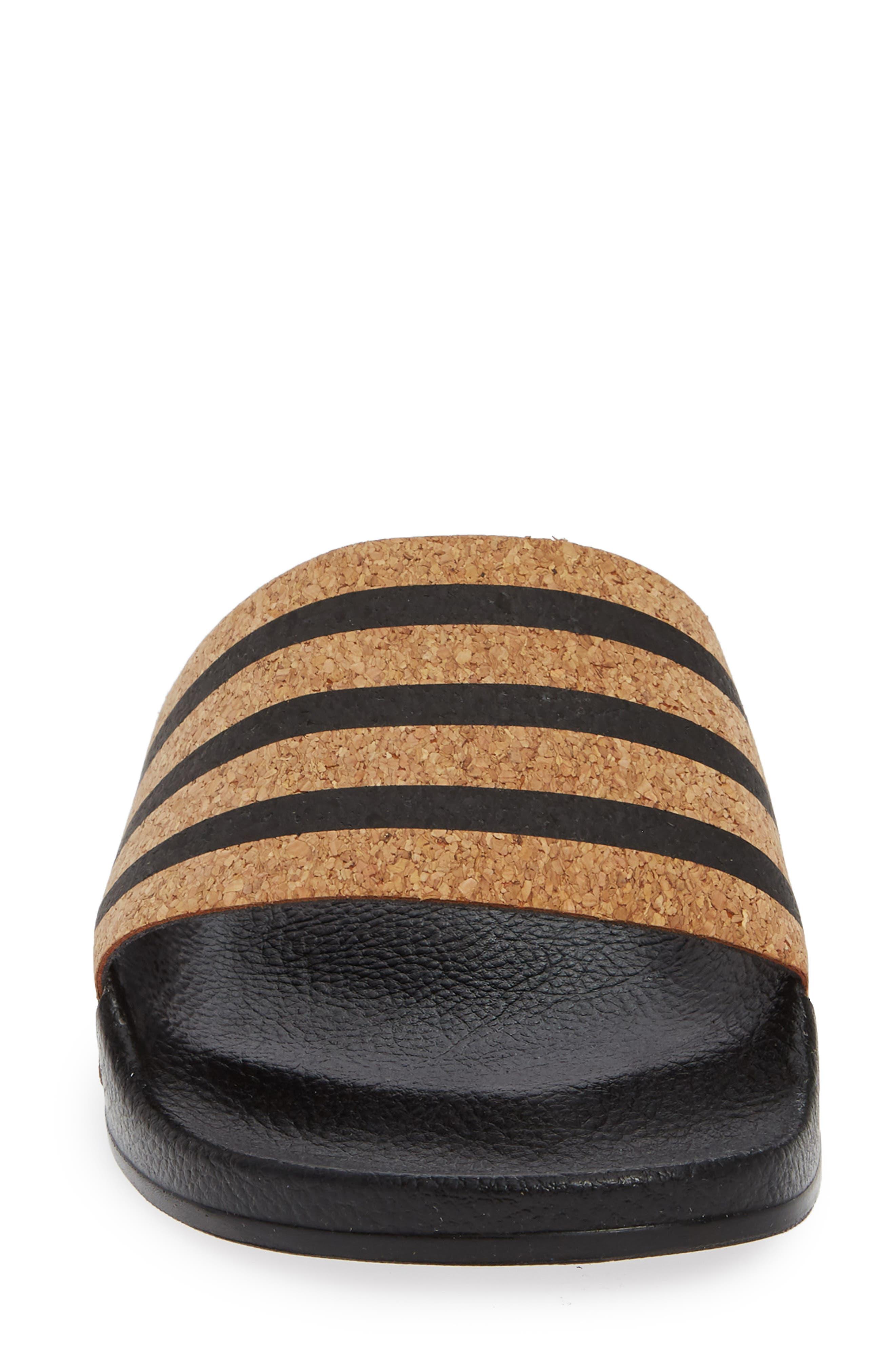 'Adilette' Slide Sandal,                             Alternate thumbnail 4, color,                             CORE BLACK/ CORE BLACK