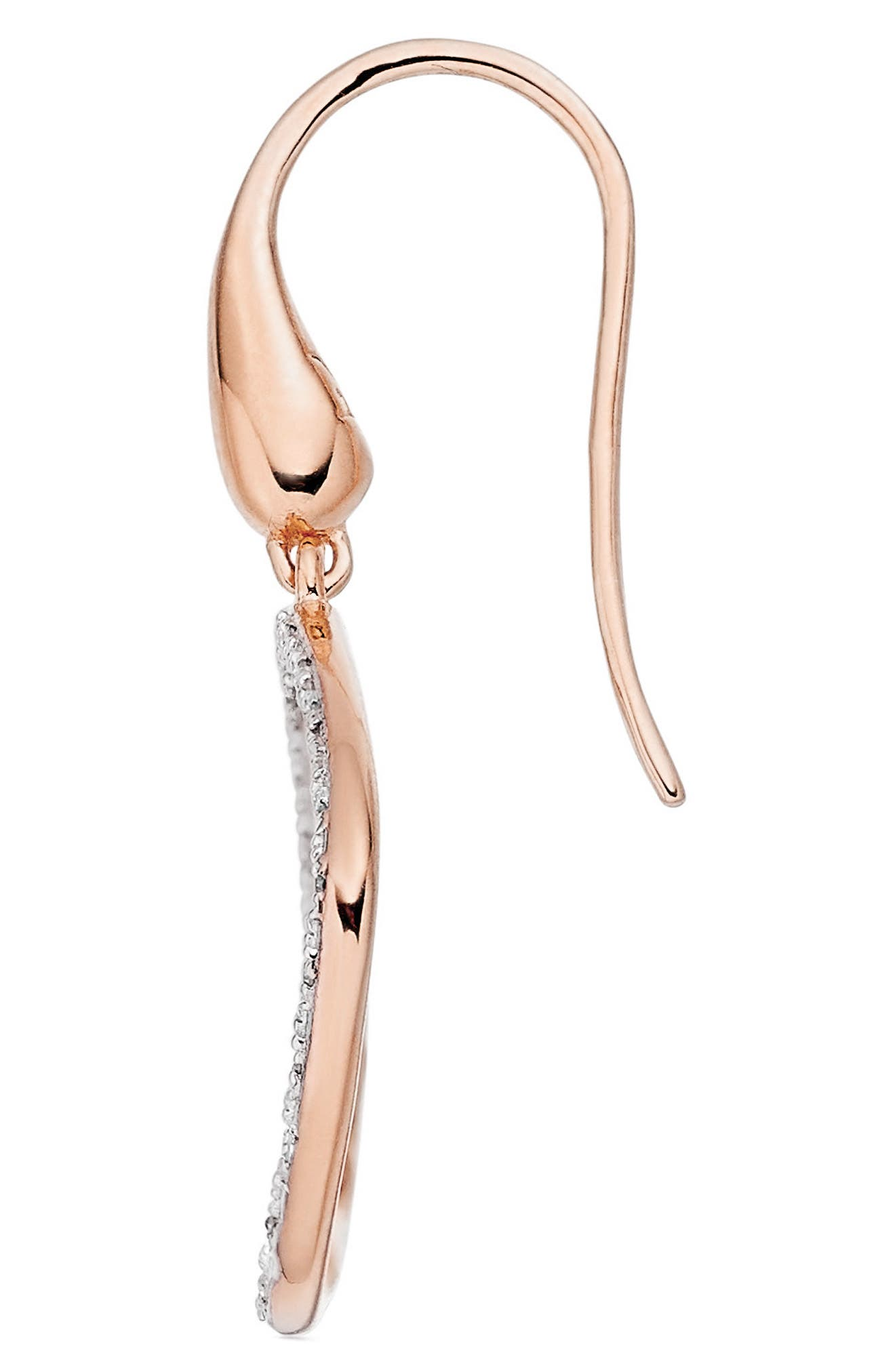 Riva Diamond Hoop Drop Earrings,                             Alternate thumbnail 3, color,                             ROSE GOLD