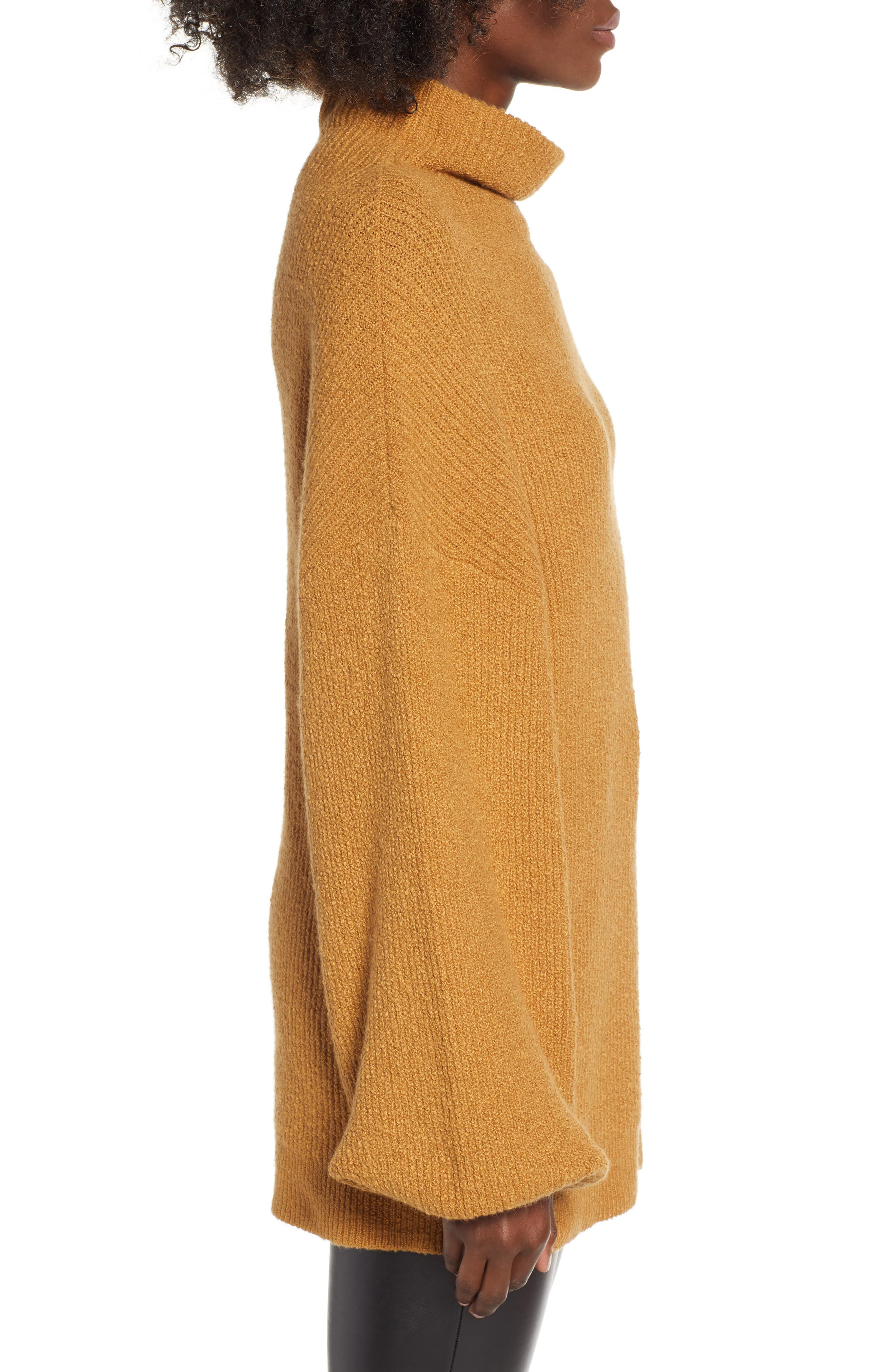Knit Funnel Neck Tunic,                             Alternate thumbnail 3, color,                             BROWN CATTAIL
