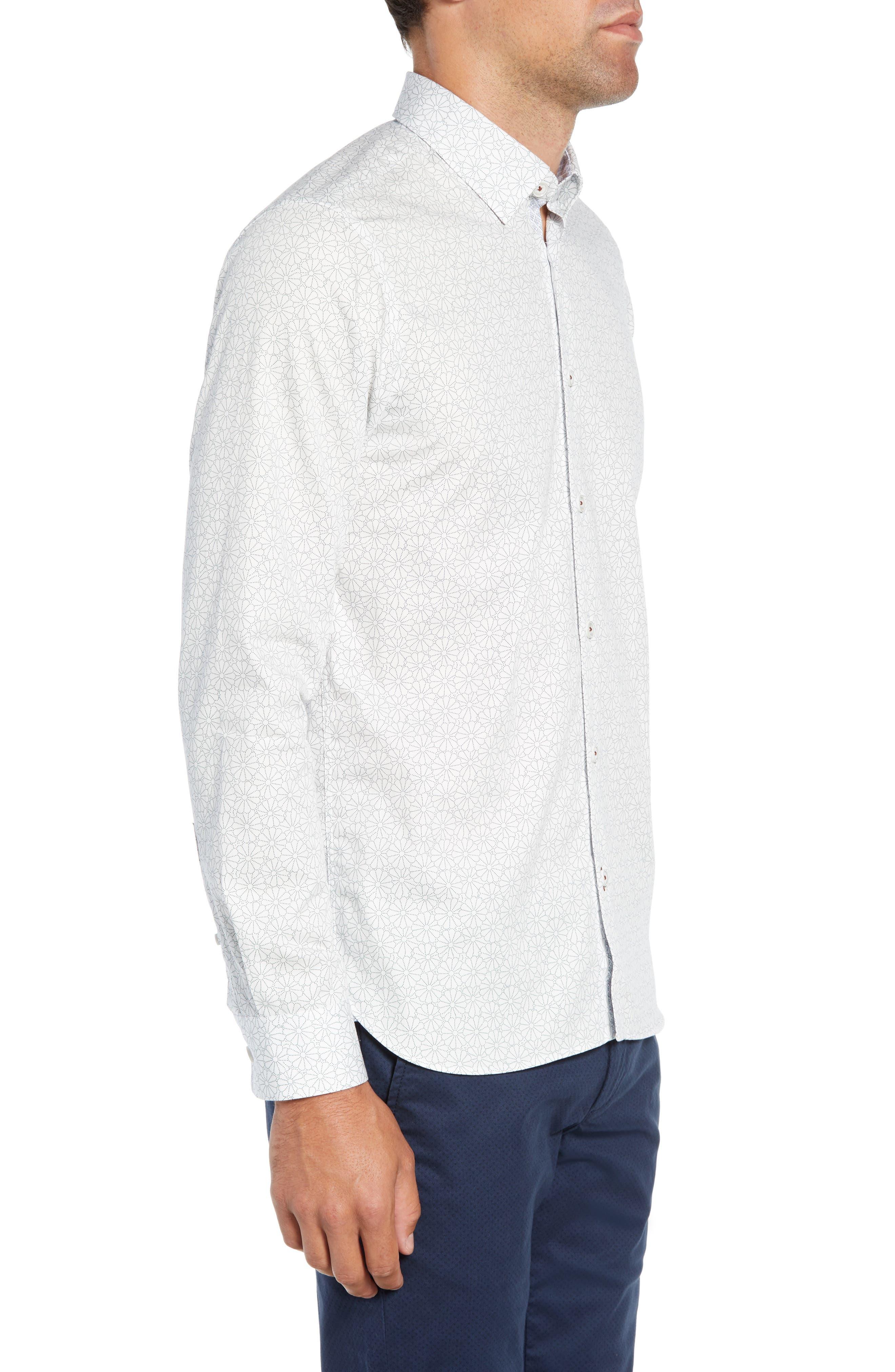 Finsbur Slim Fit Floral Sport Shirt,                             Alternate thumbnail 4, color,                             WHITE