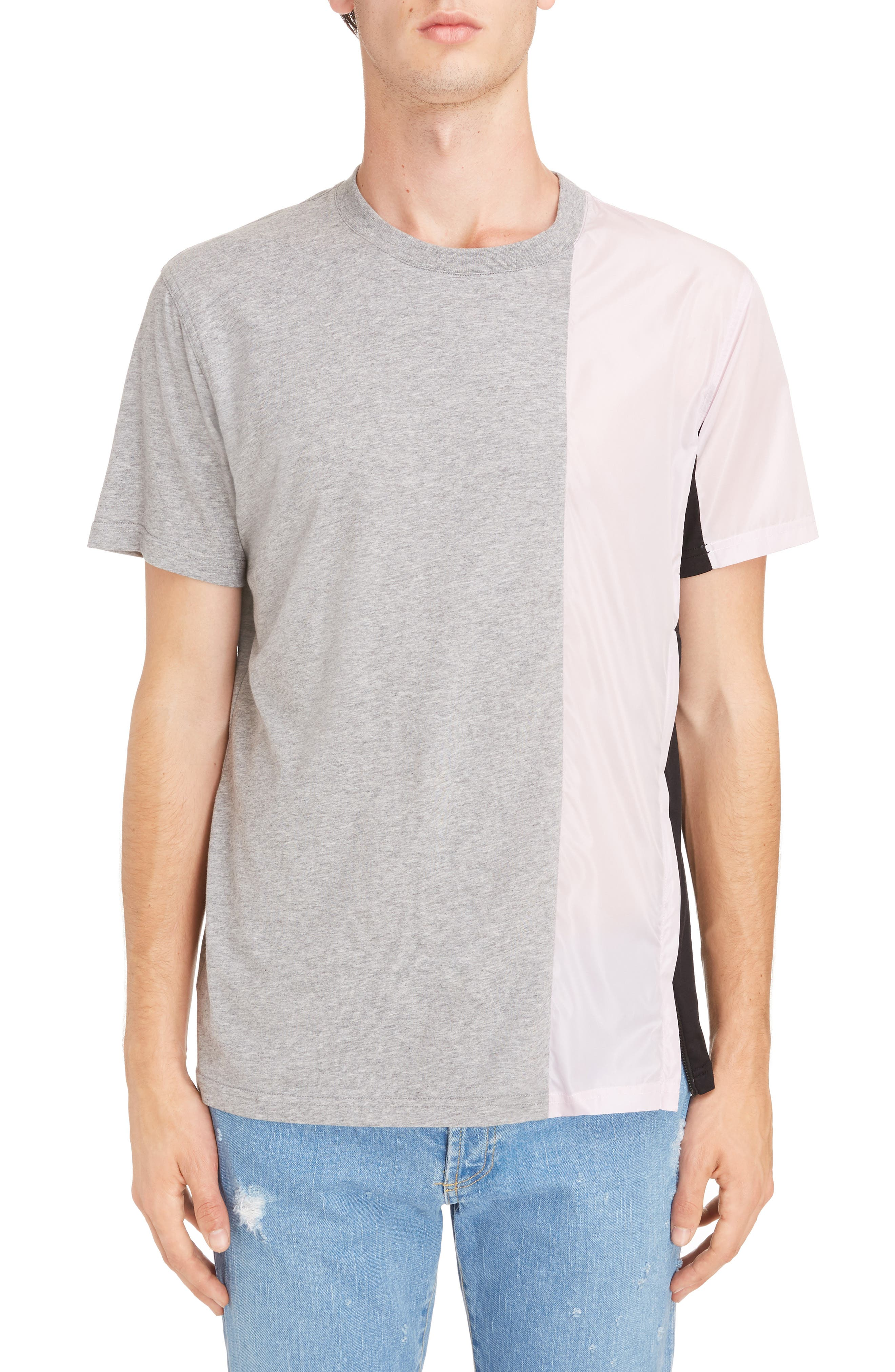 Bimaterial Colorblock T-Shirt with Zip Detail,                         Main,                         color,