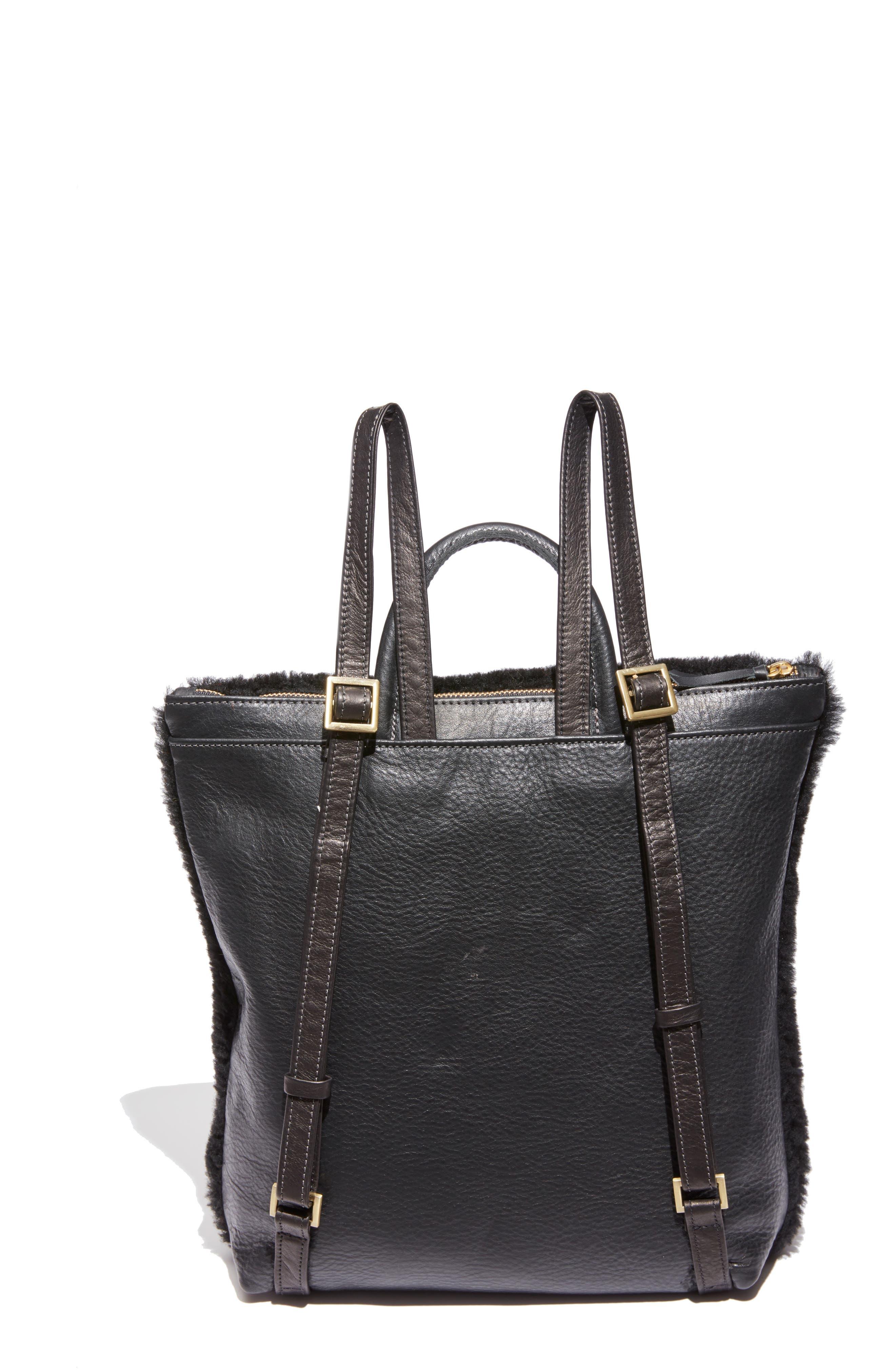 Shapes Patchwork Genuine Shearling Backpack,                             Alternate thumbnail 3, color,                             BLACK/ PINK
