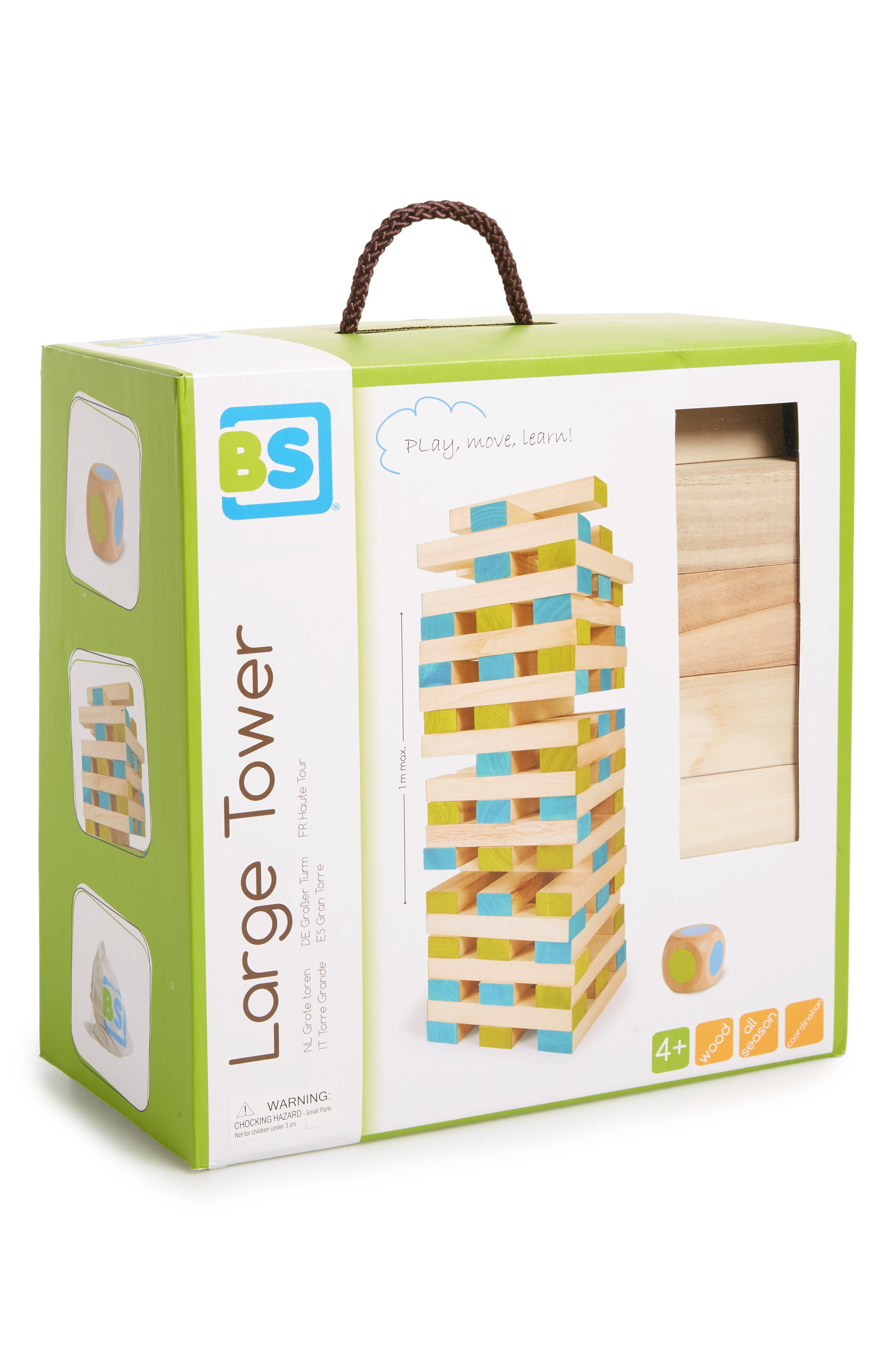 Large Wood Block Tower Toy,                             Alternate thumbnail 2, color,                             GREEN