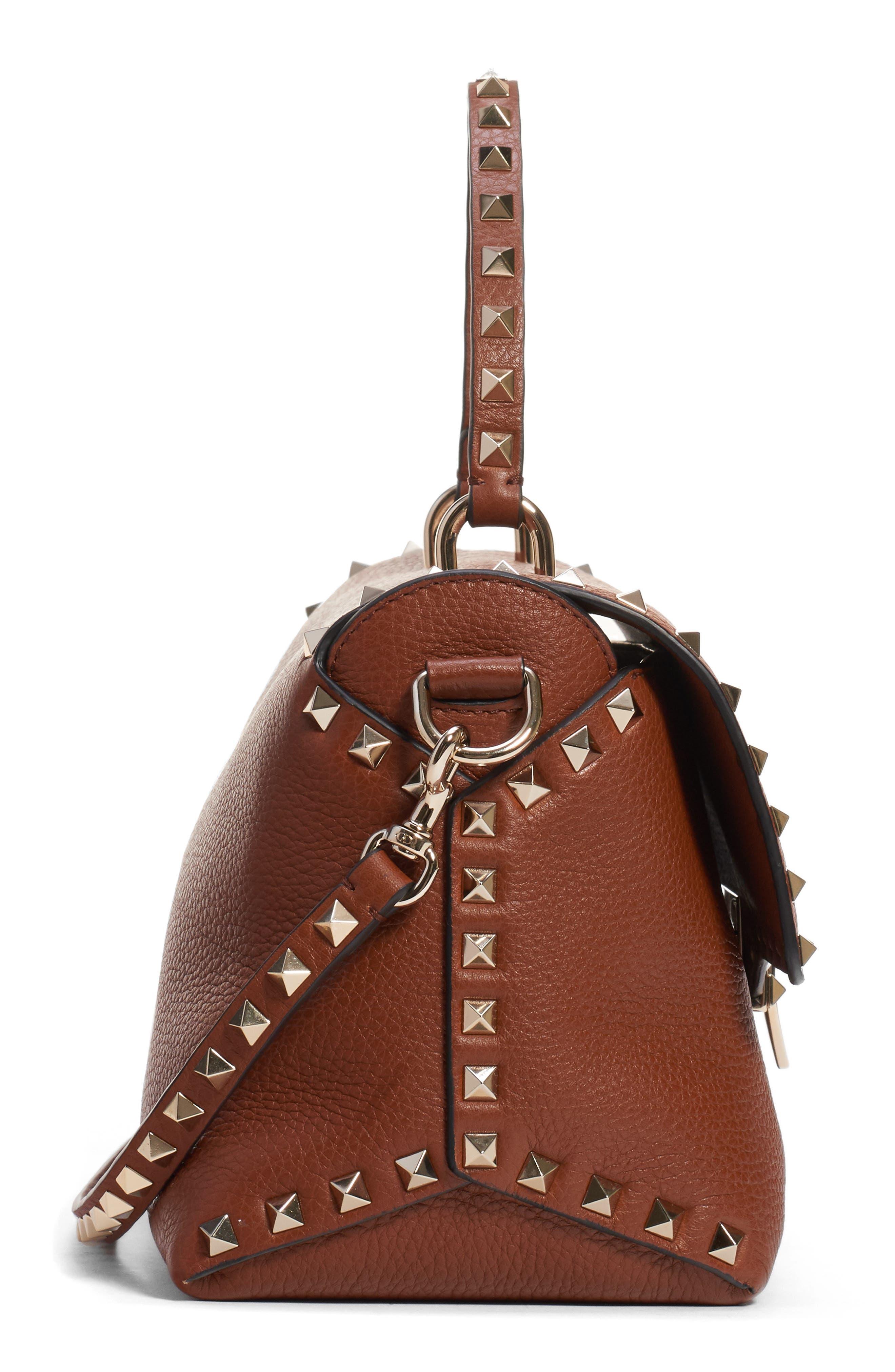 Medium Rockstud Leather Crossbody Bag,                             Alternate thumbnail 4, color,                             BRIGHT COGNAC