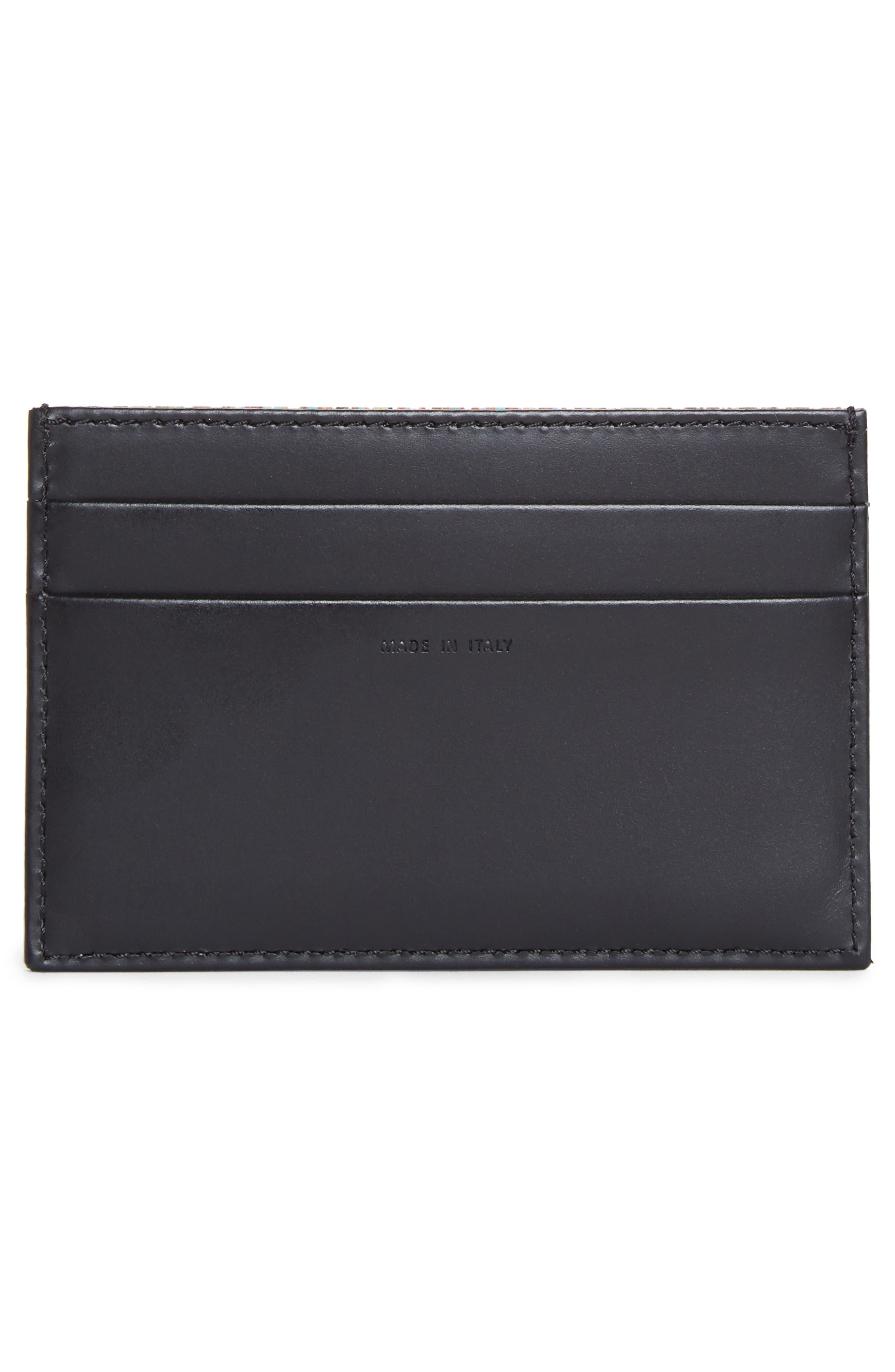 Multistripe Leather Card Case,                             Alternate thumbnail 2, color,                             BLACK