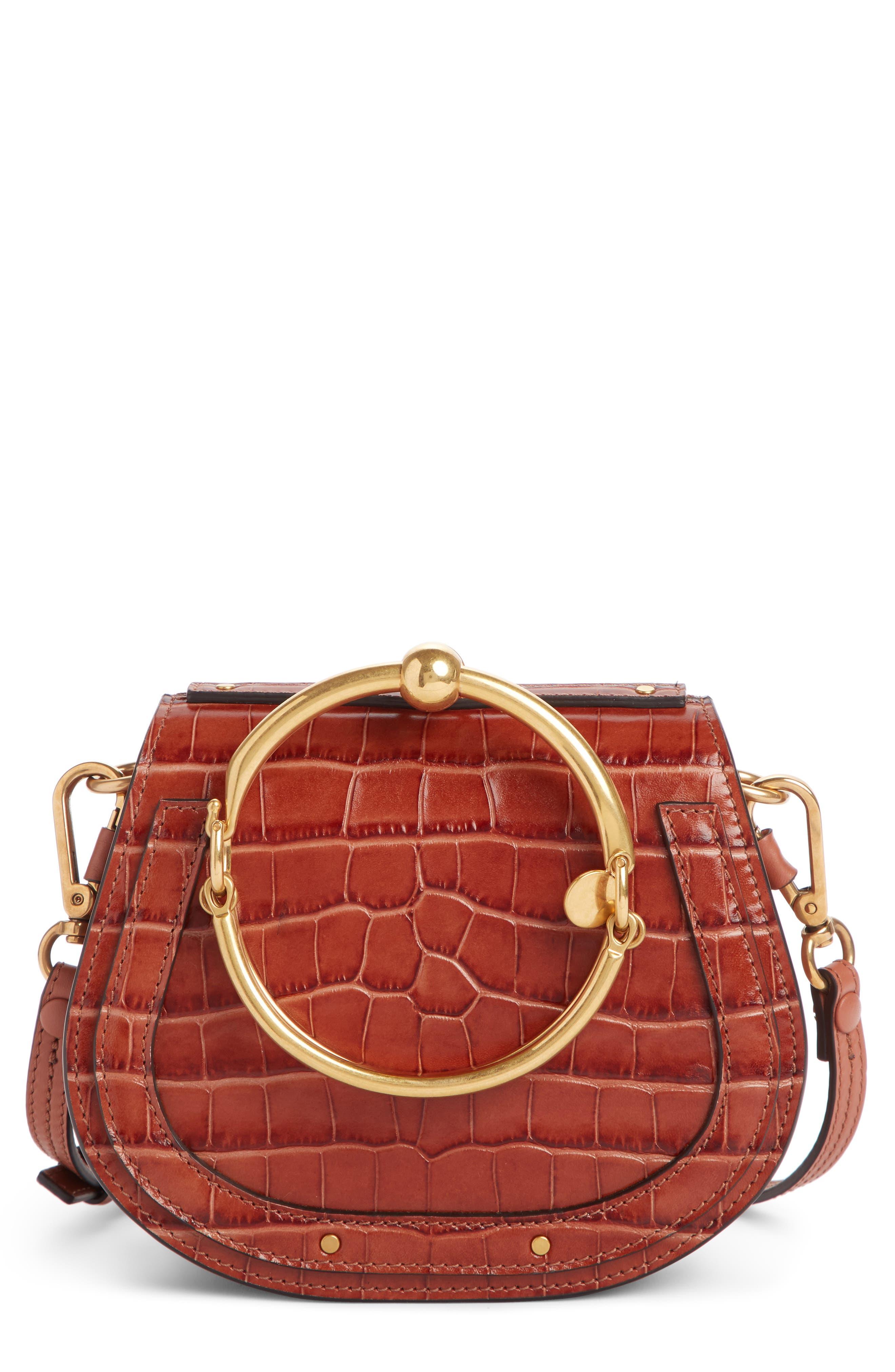 CHLOÉ Nile Bracelet Croc Embossed Leather Crossbody Bag, Main, color, CHESTNUT BROWN