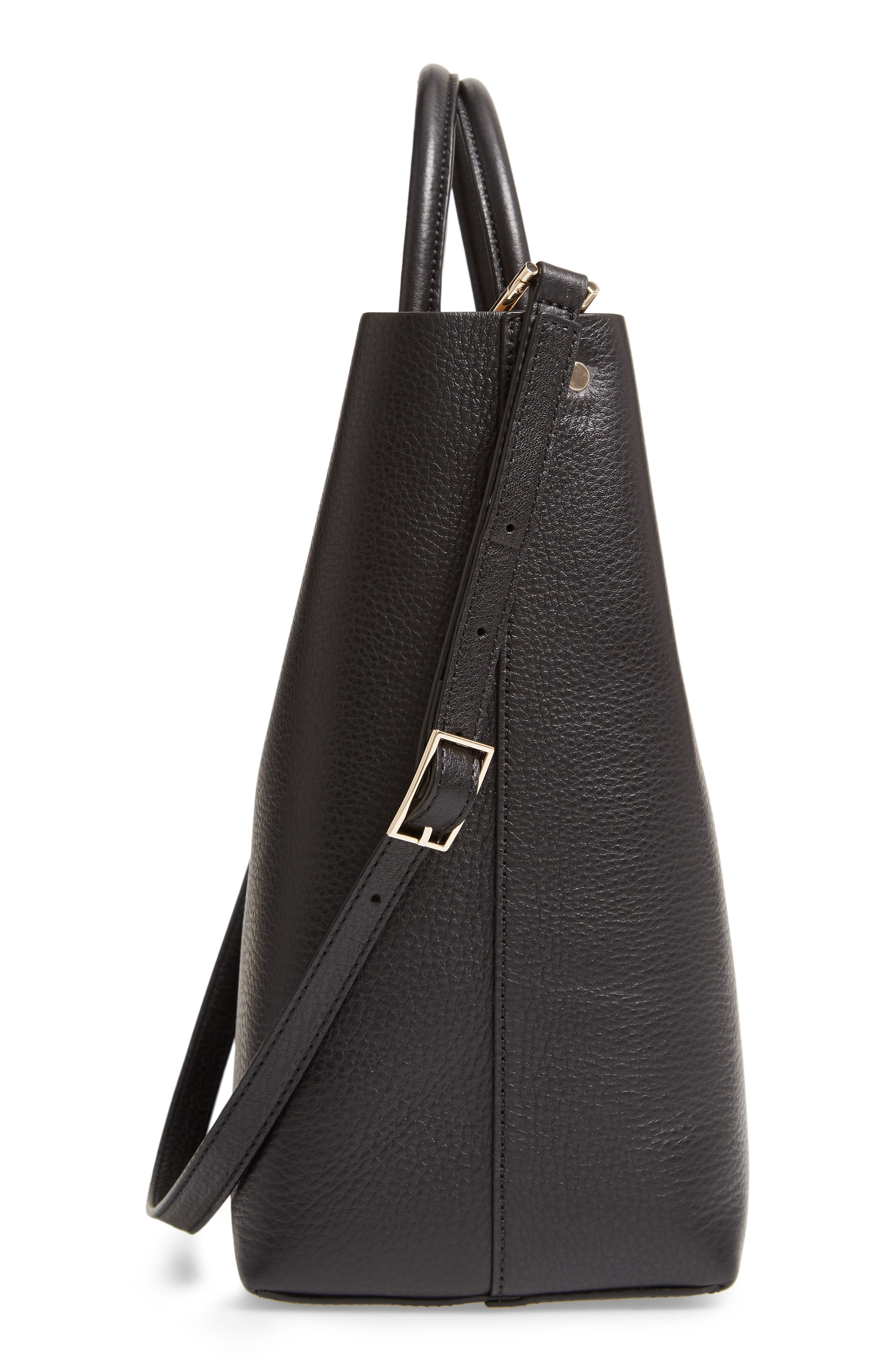 Tall Carryall Pebbled Leather Tote,                             Alternate thumbnail 5, color,                             TRUE BLACK