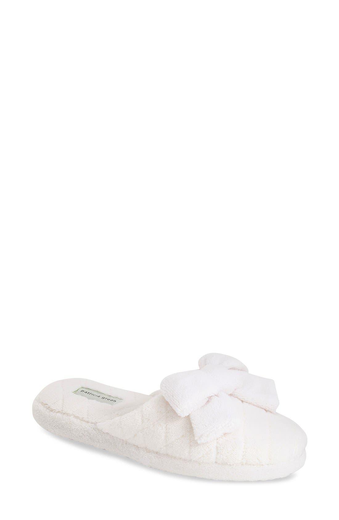 'Bonnie' Bow Slipper,                         Main,                         color, WHITE