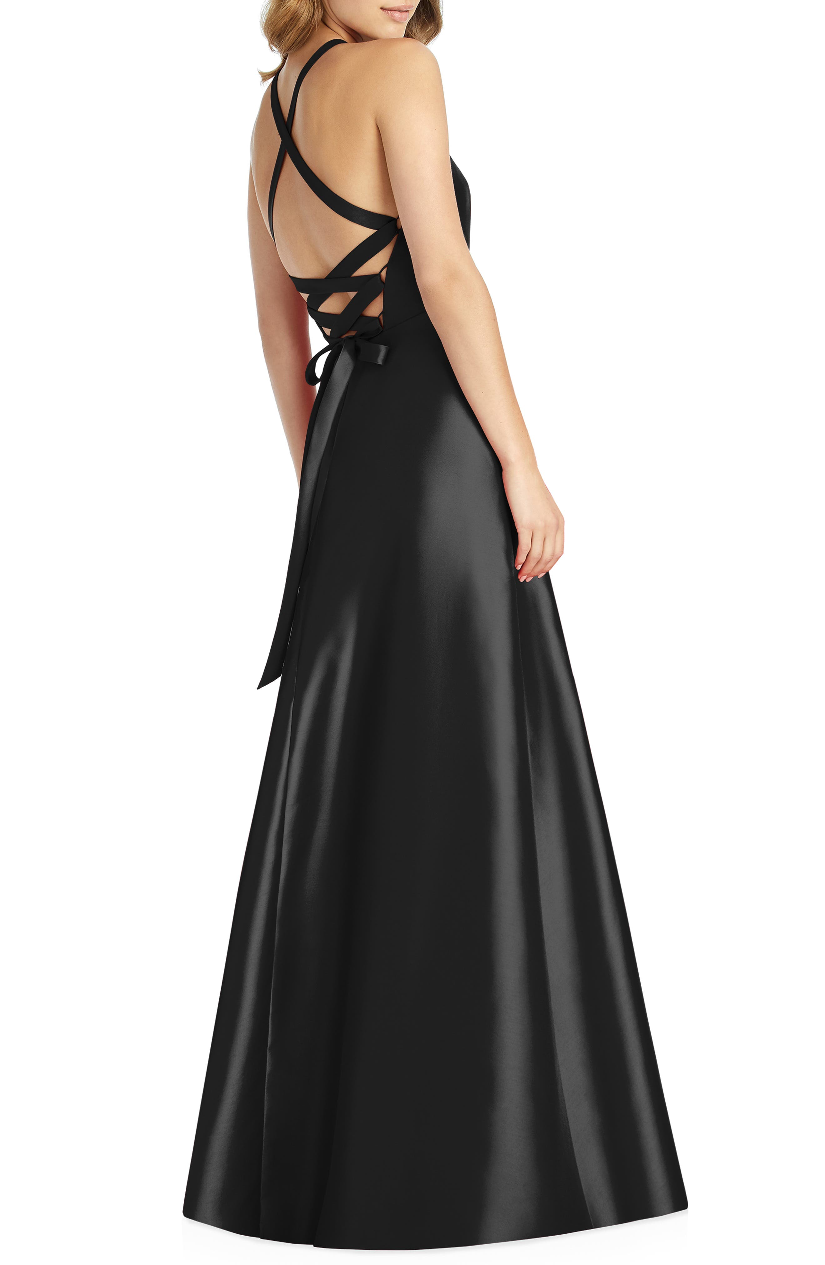 ALFRED SUNG,                             Lace-Up Back Sateen Twill Gown,                             Alternate thumbnail 2, color,                             BLACK